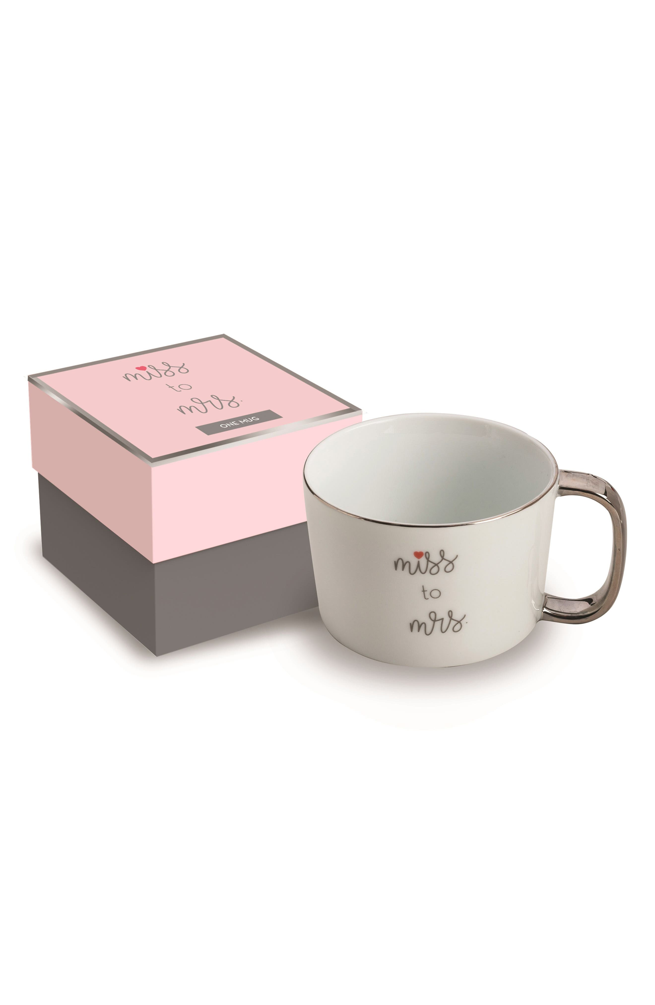 Miss To Mrs. Mug,                         Main,                         color, White And Gold