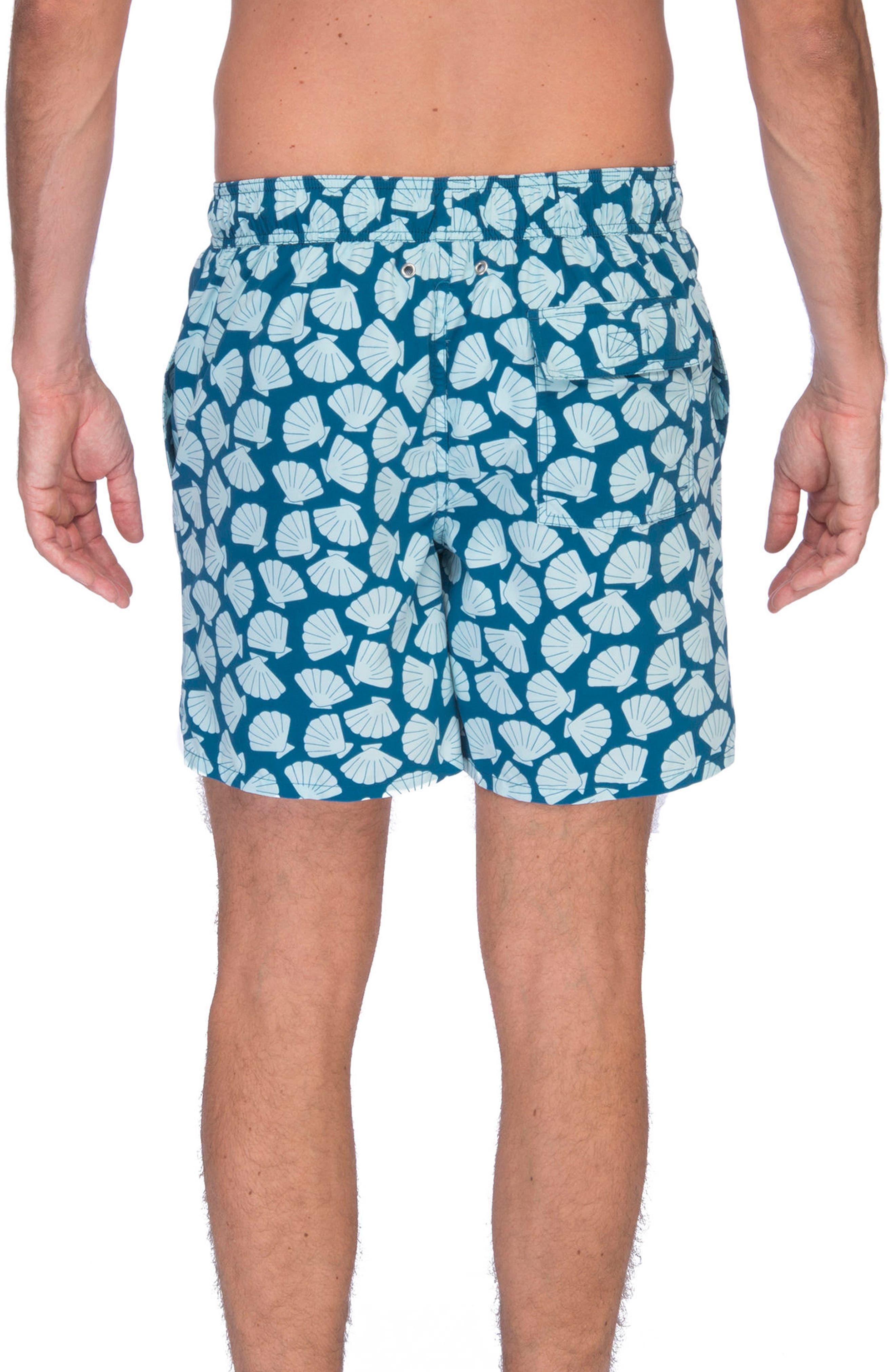 Shell Print Swim Trunks,                             Alternate thumbnail 2, color,                             Blue