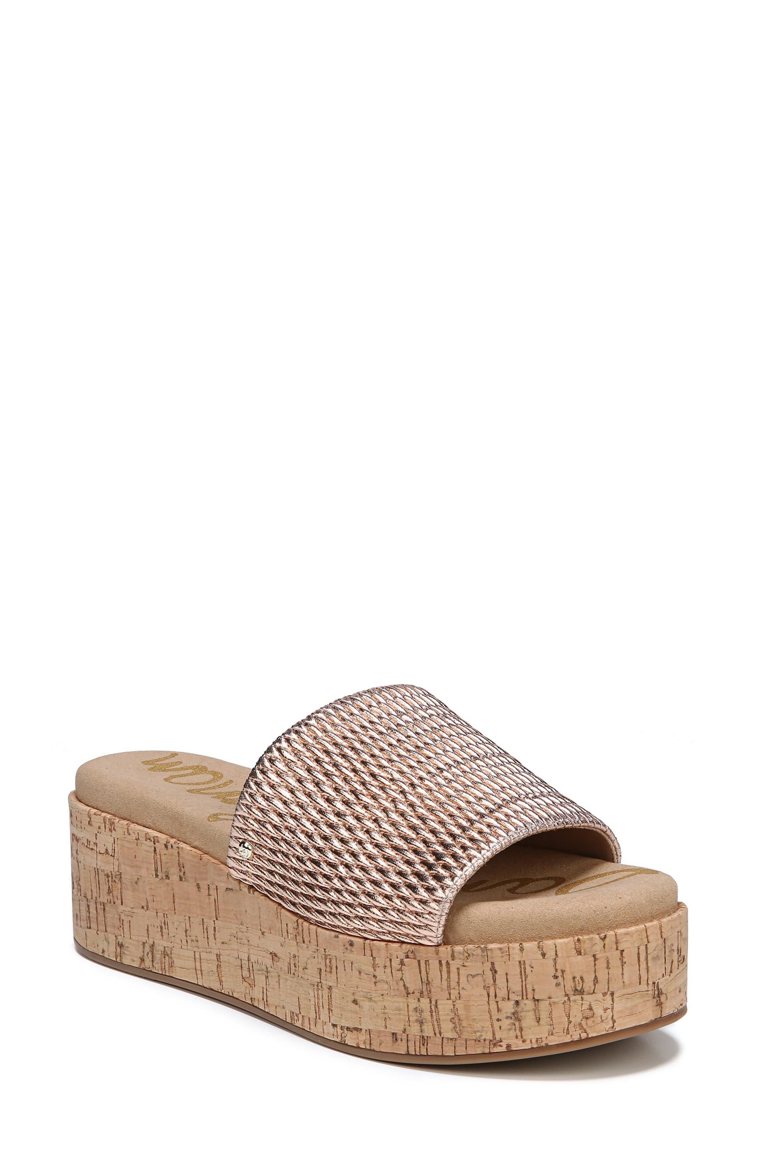 Wendi Platform Slide Sandal,                             Main thumbnail 1, color,                             Blush Gold Metallic Fabric