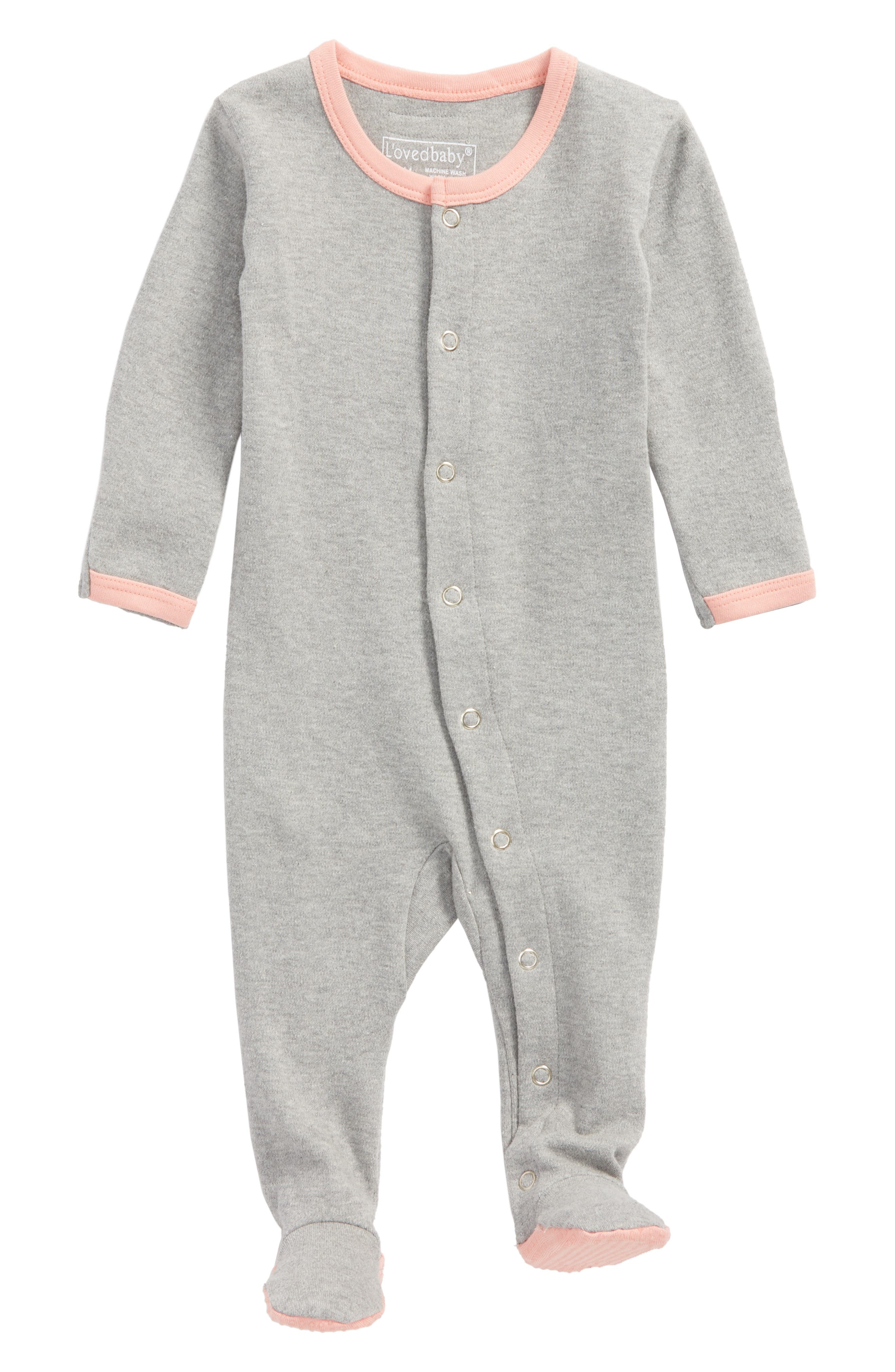 Alternate Image 1 Selected - L'ovedbaby Organic Cotton Footie (Baby Girls)