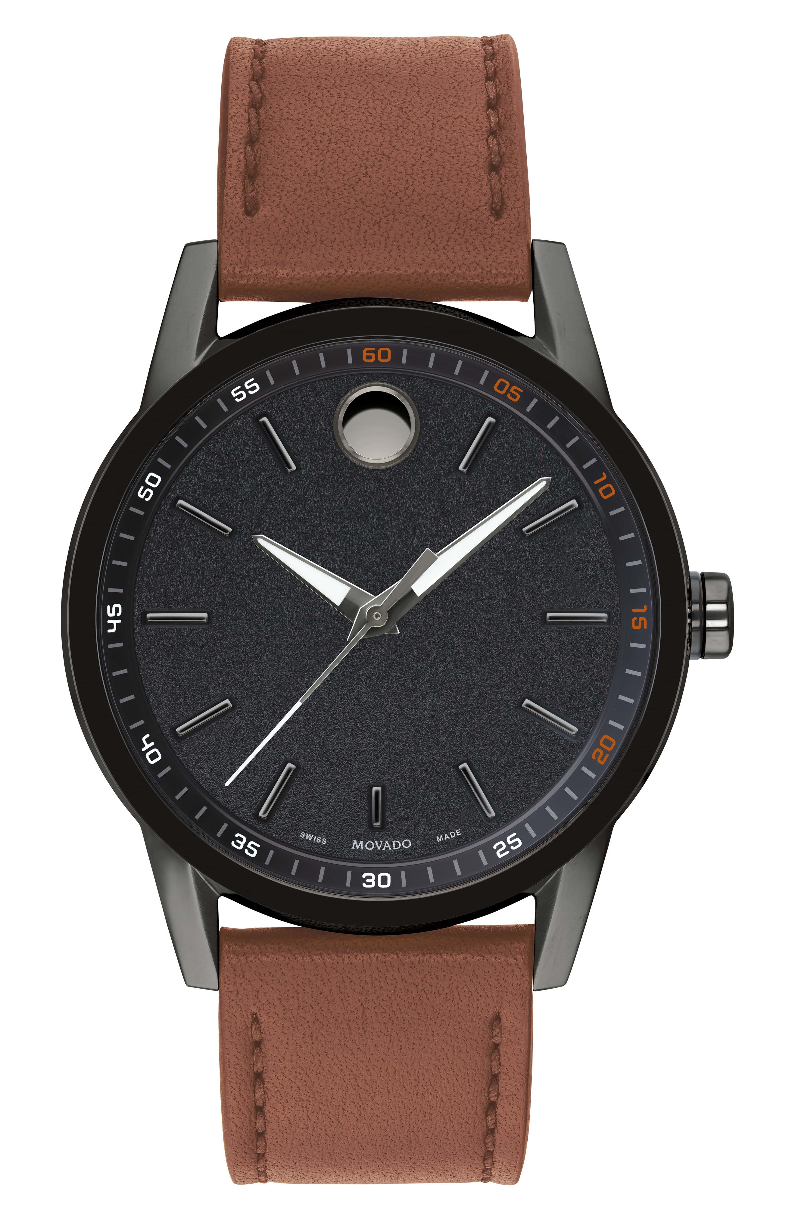Leather Strap Watch, 42mm,                         Main,                         color, Cognac/ Black/ Grey