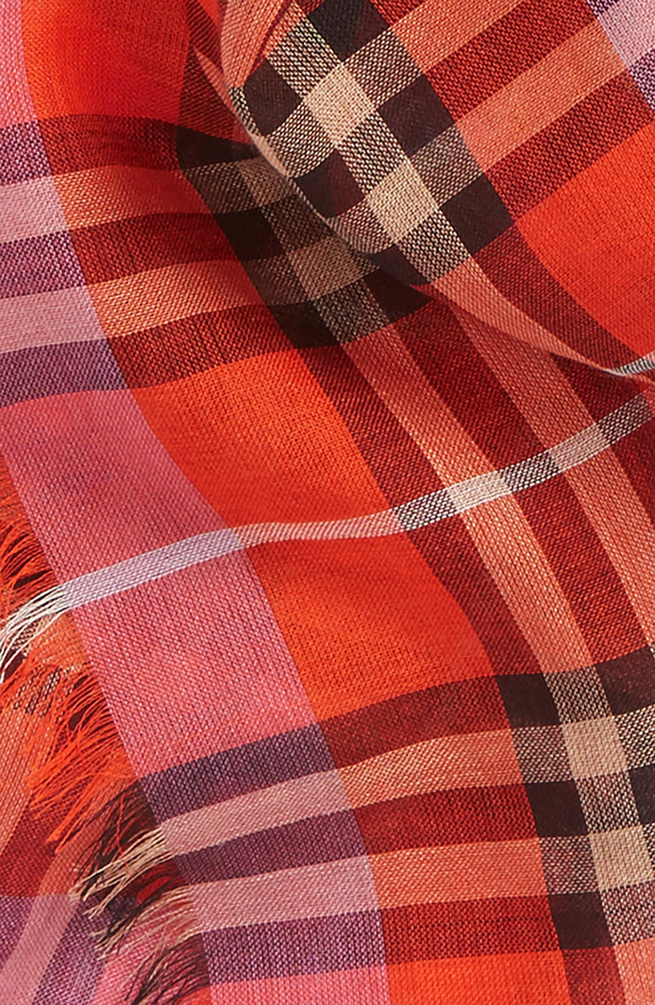 Vintage Check Wool & Silk Blend Scarf,                             Alternate thumbnail 3, color,                             Bright Orange Red