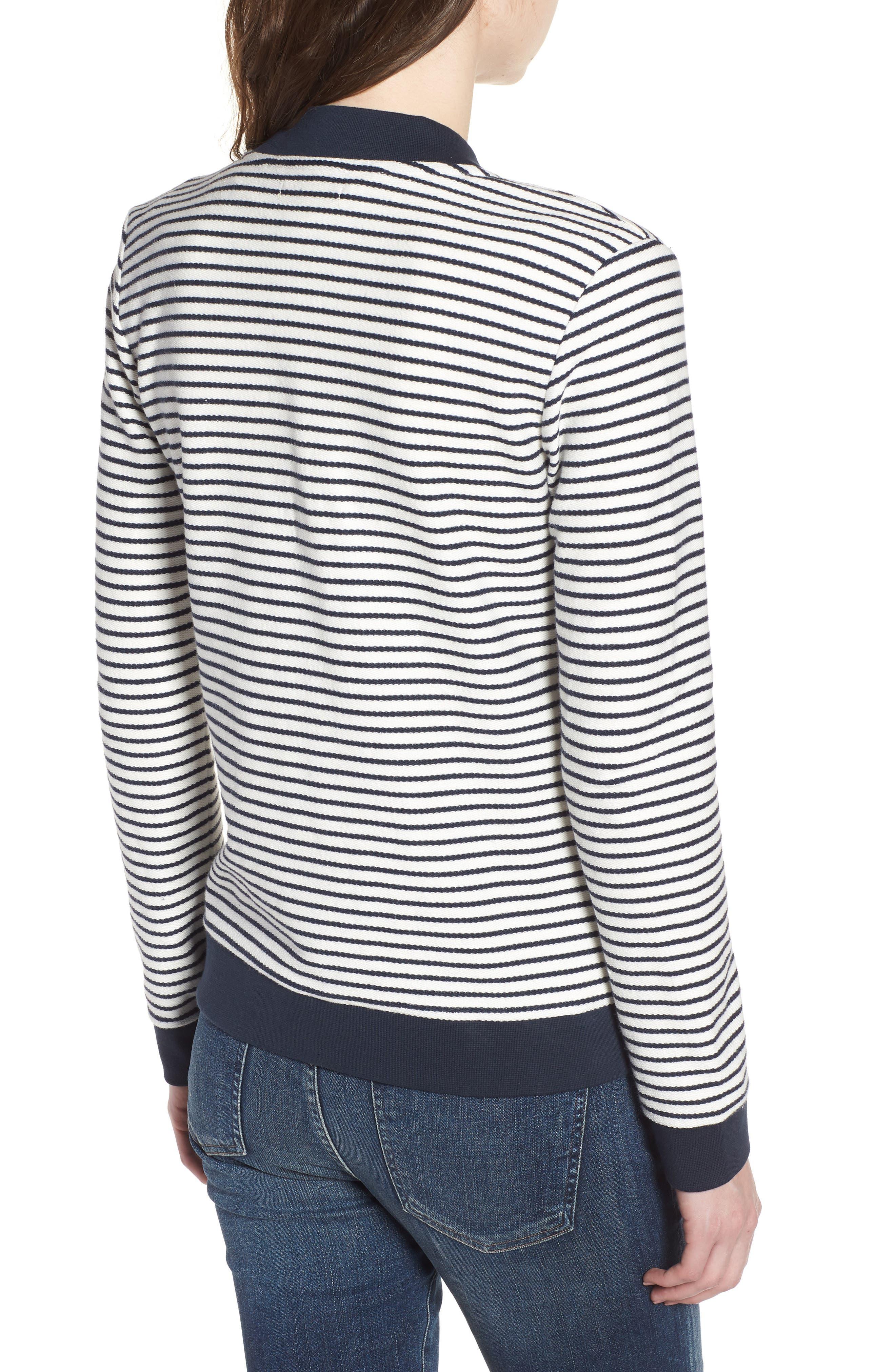 Bamburgh Sweater Jacket,                             Alternate thumbnail 2, color,                             White/ Navy