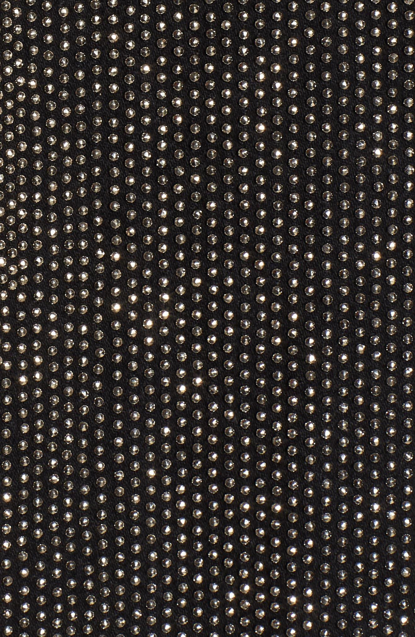 Rei Studded Crop Denim Jacket,                             Alternate thumbnail 6, color,                             Bullet Proof
