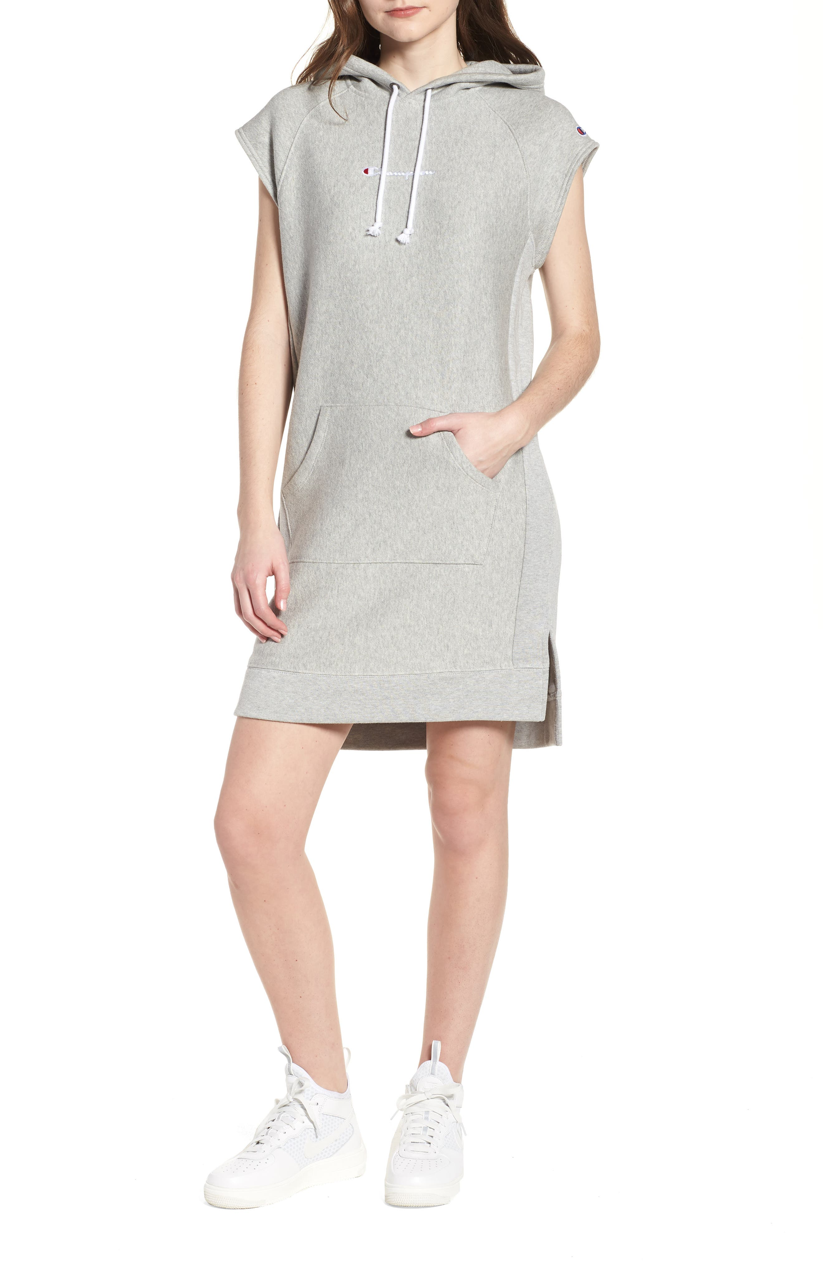 Hoodie Dress,                         Main,                         color, Oxford Grey