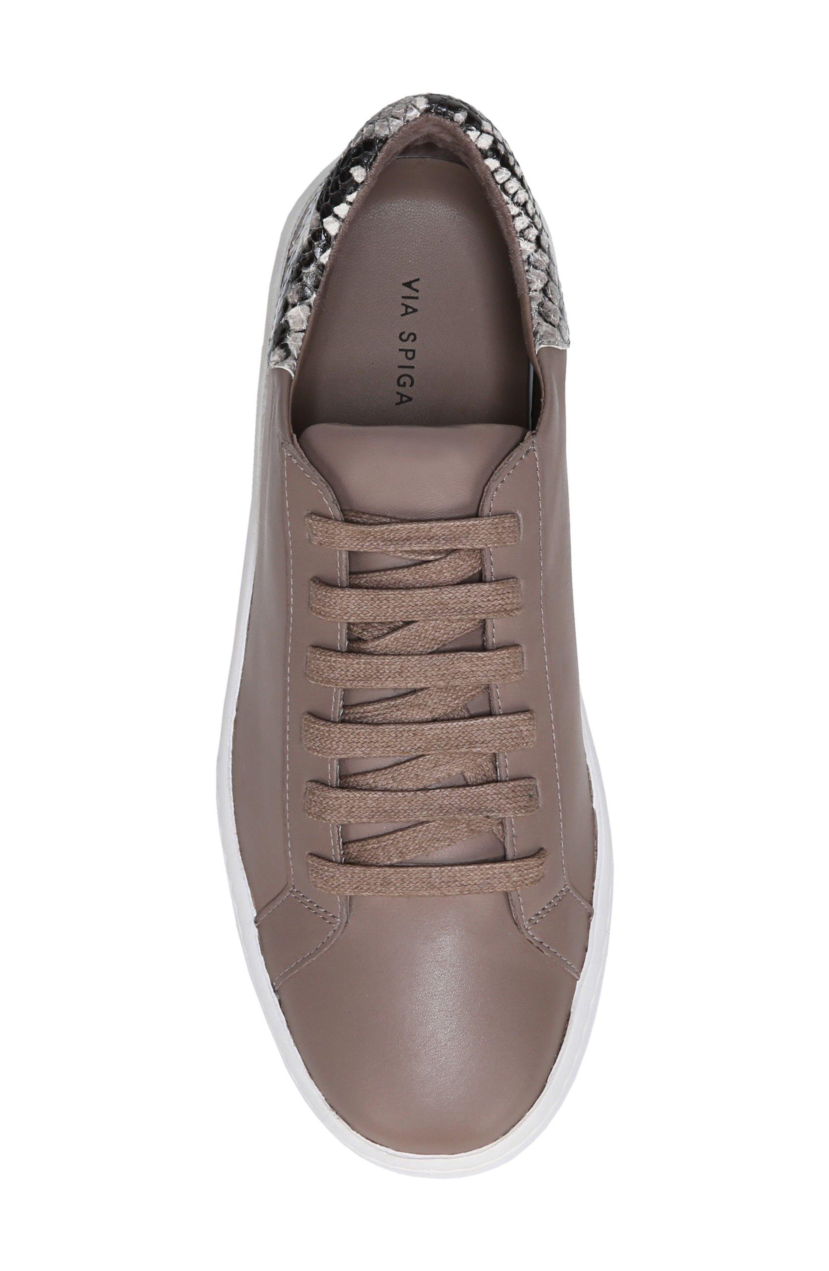 Rylen Platform Sneaker,                             Alternate thumbnail 5, color,                             Porcini/ Black/ White Leather