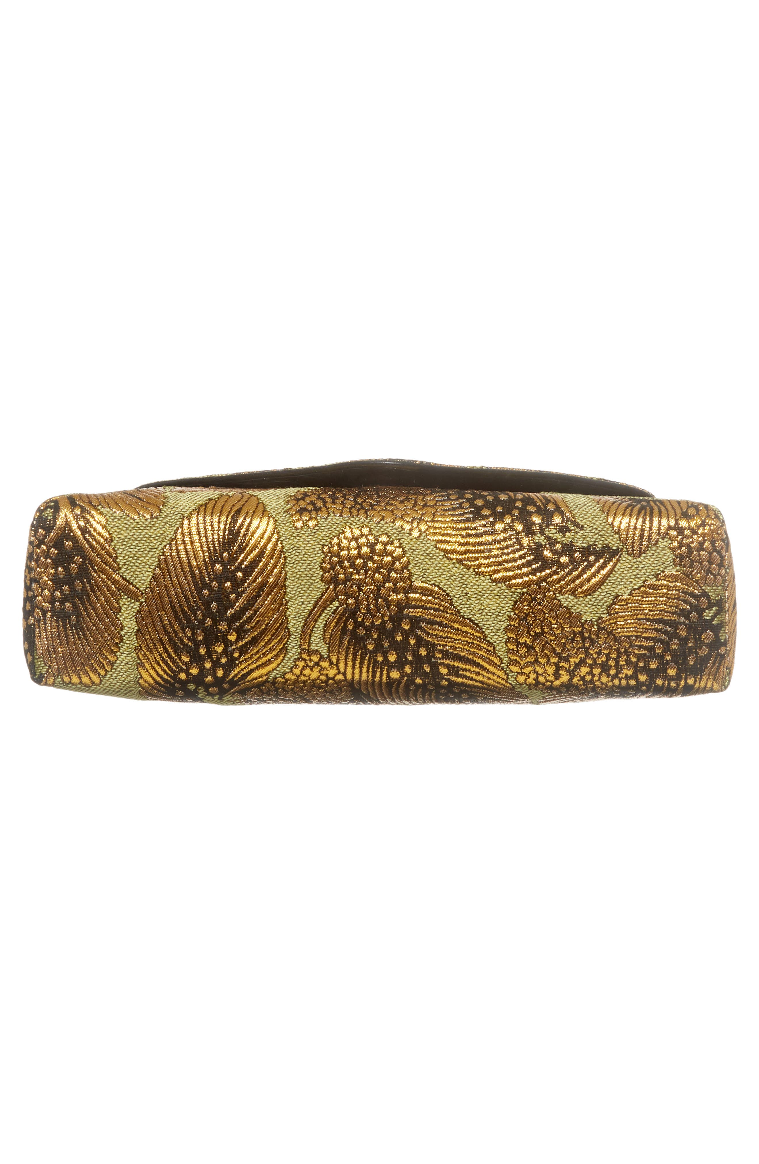 Small Metallic Feather Envelope Clutch,                             Alternate thumbnail 6, color,                             Gold