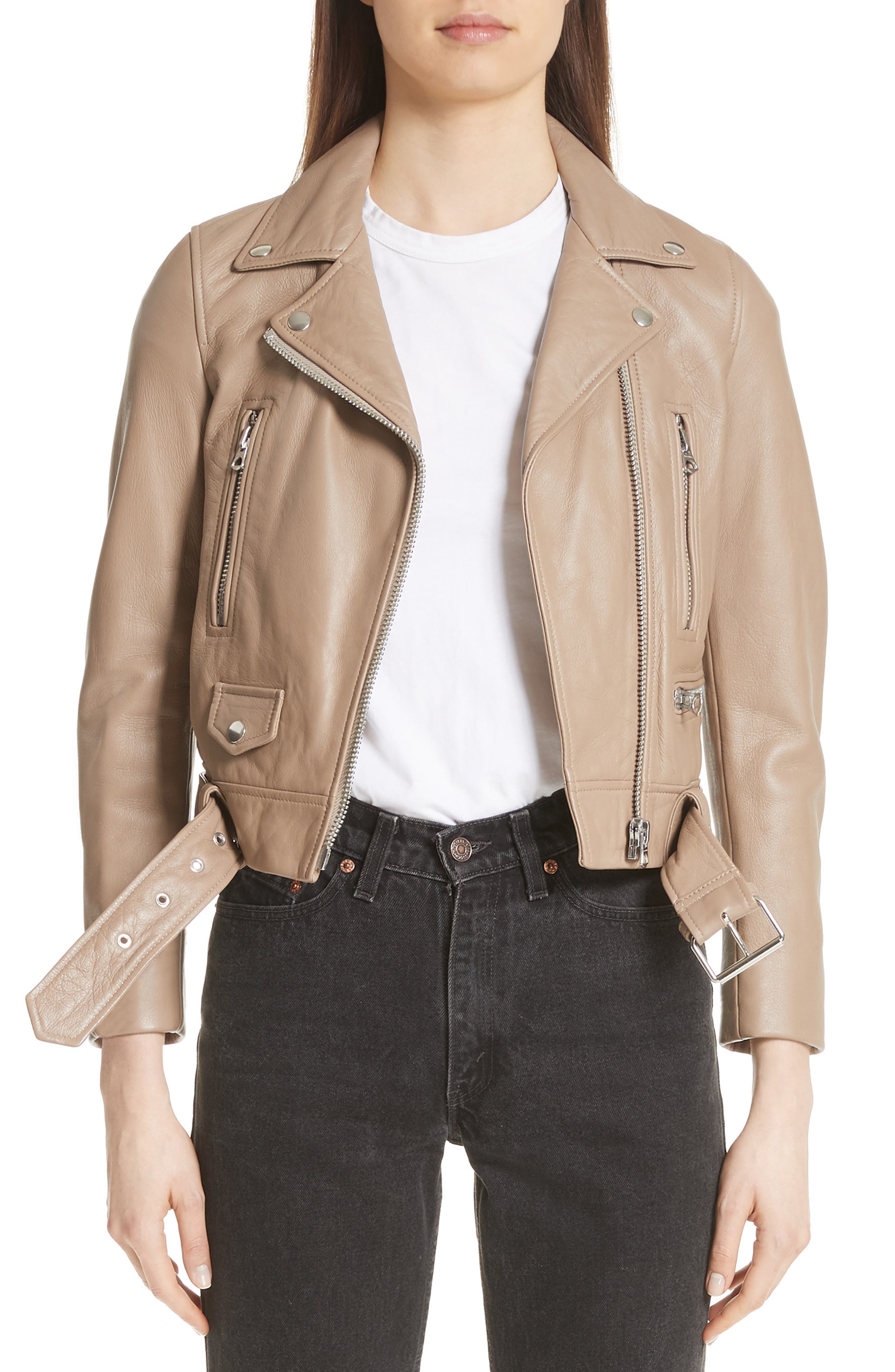 Mock Core Leather Moto Jacket,                         Main,                         color, Beige
