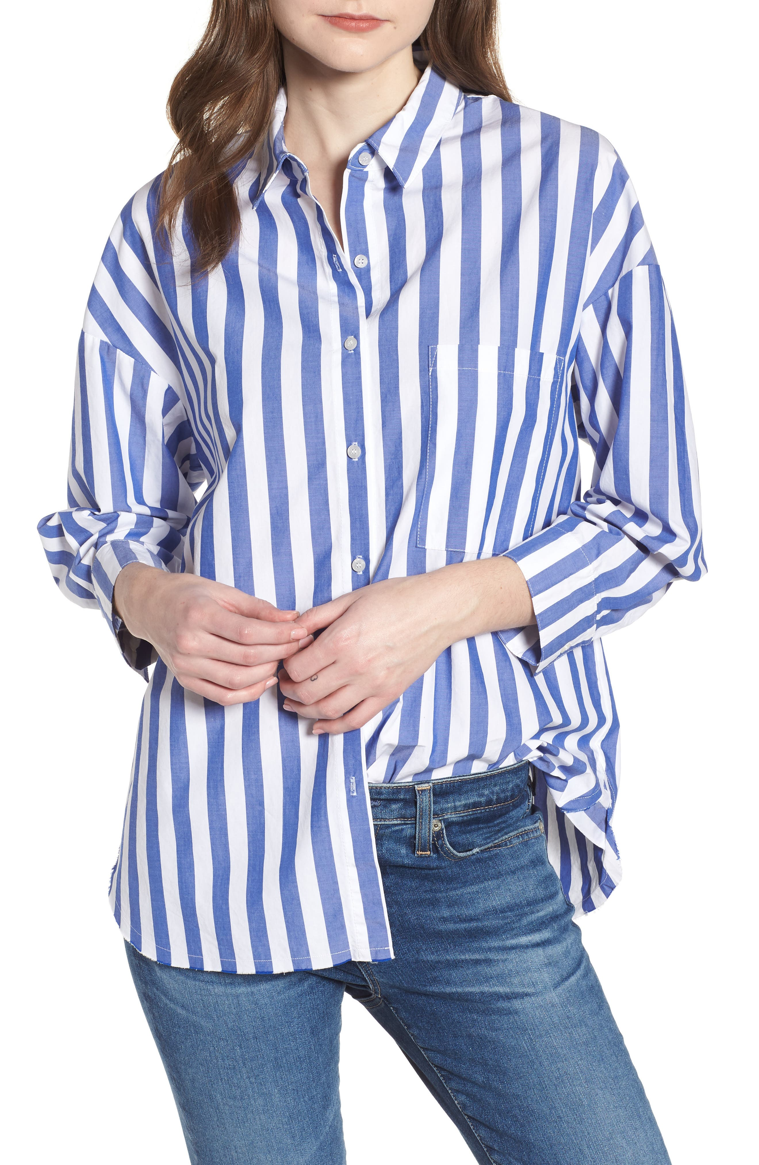 Stripe Oversize Shirt,                         Main,                         color, Blue Stripe