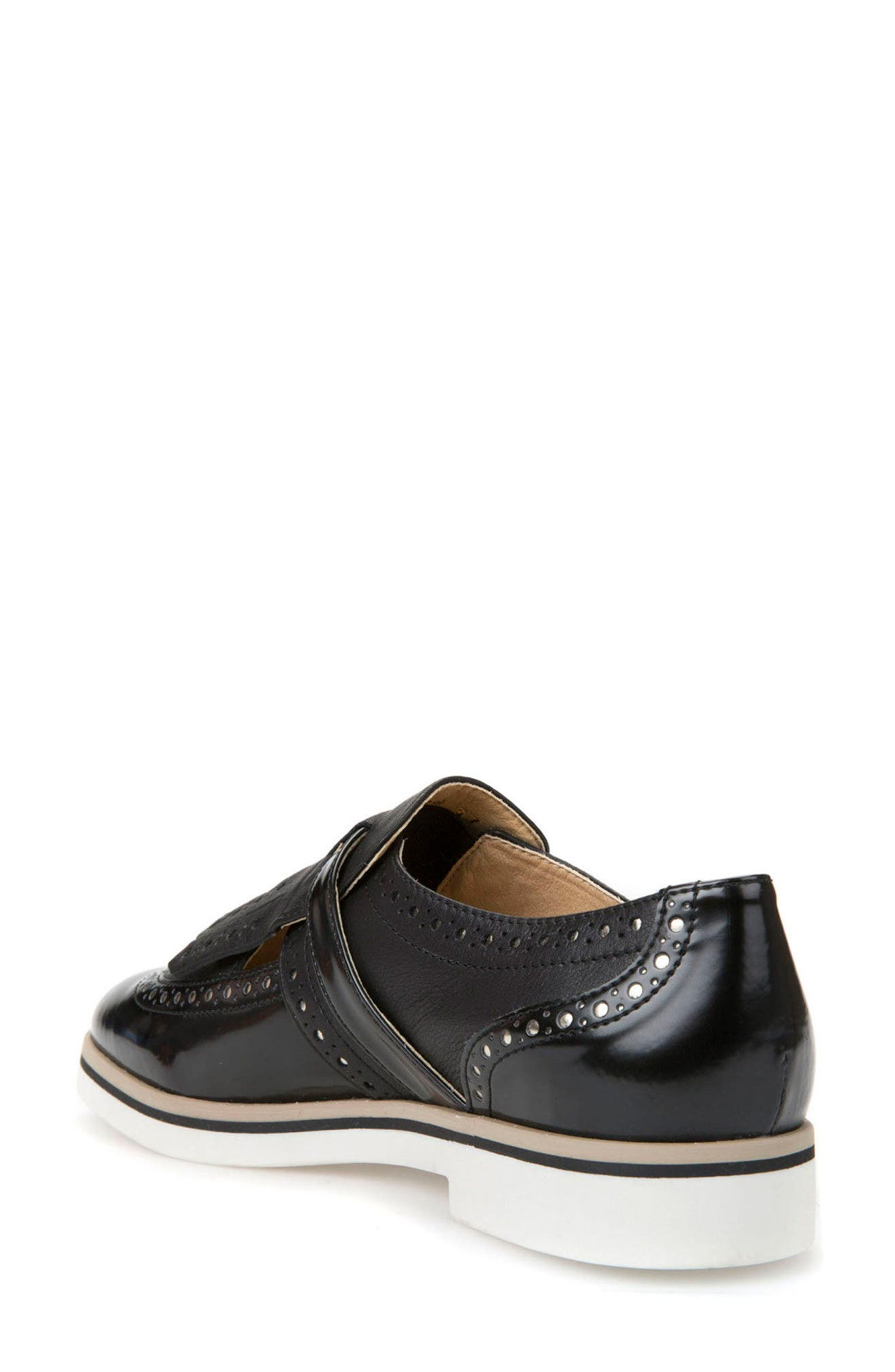 Janalee Cutout Loafer,                             Alternate thumbnail 2, color,                             Black Leather