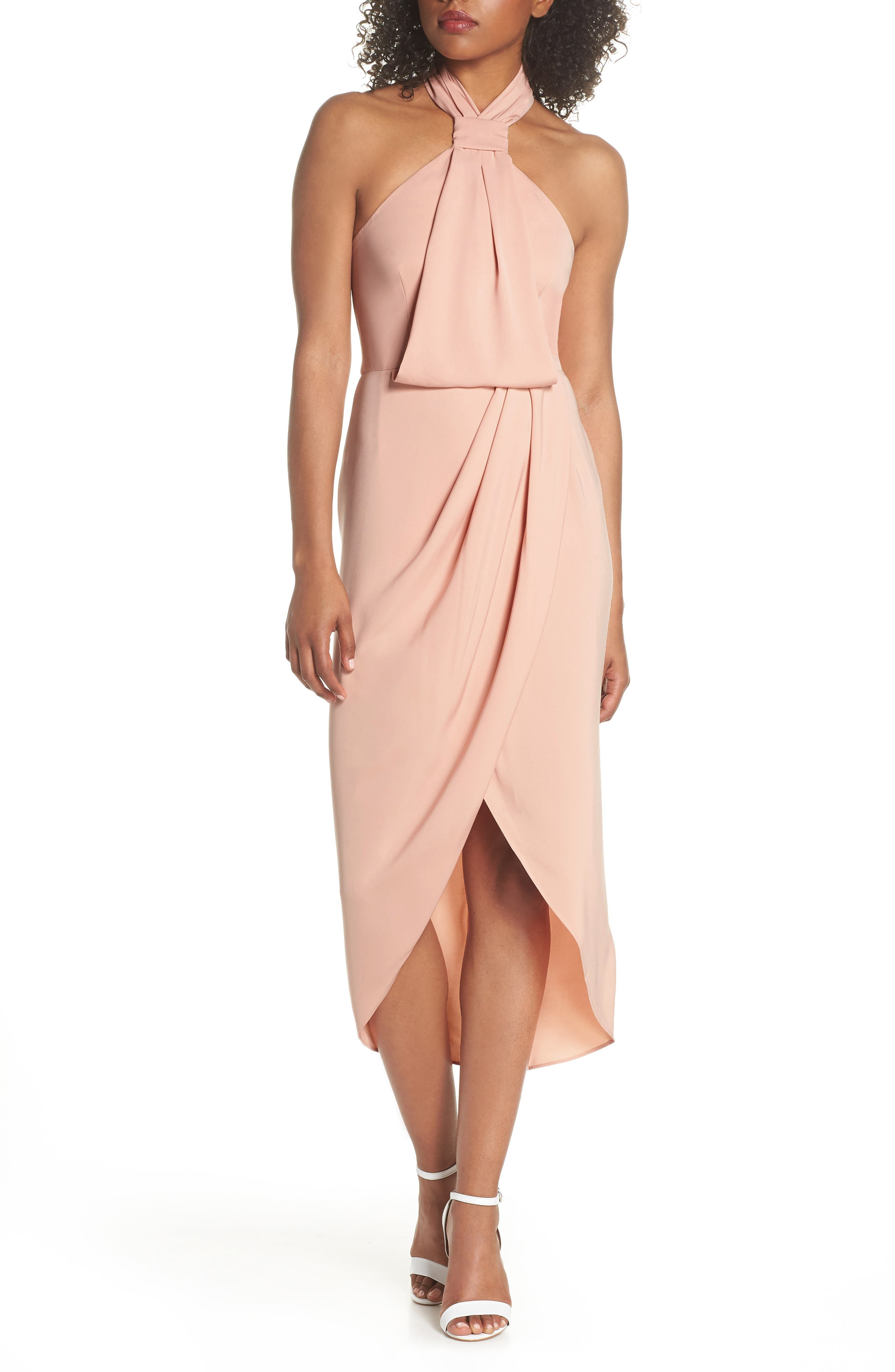 Knotted Tulip Hem Midi Dress,                         Main,                         color, Dusty Pink