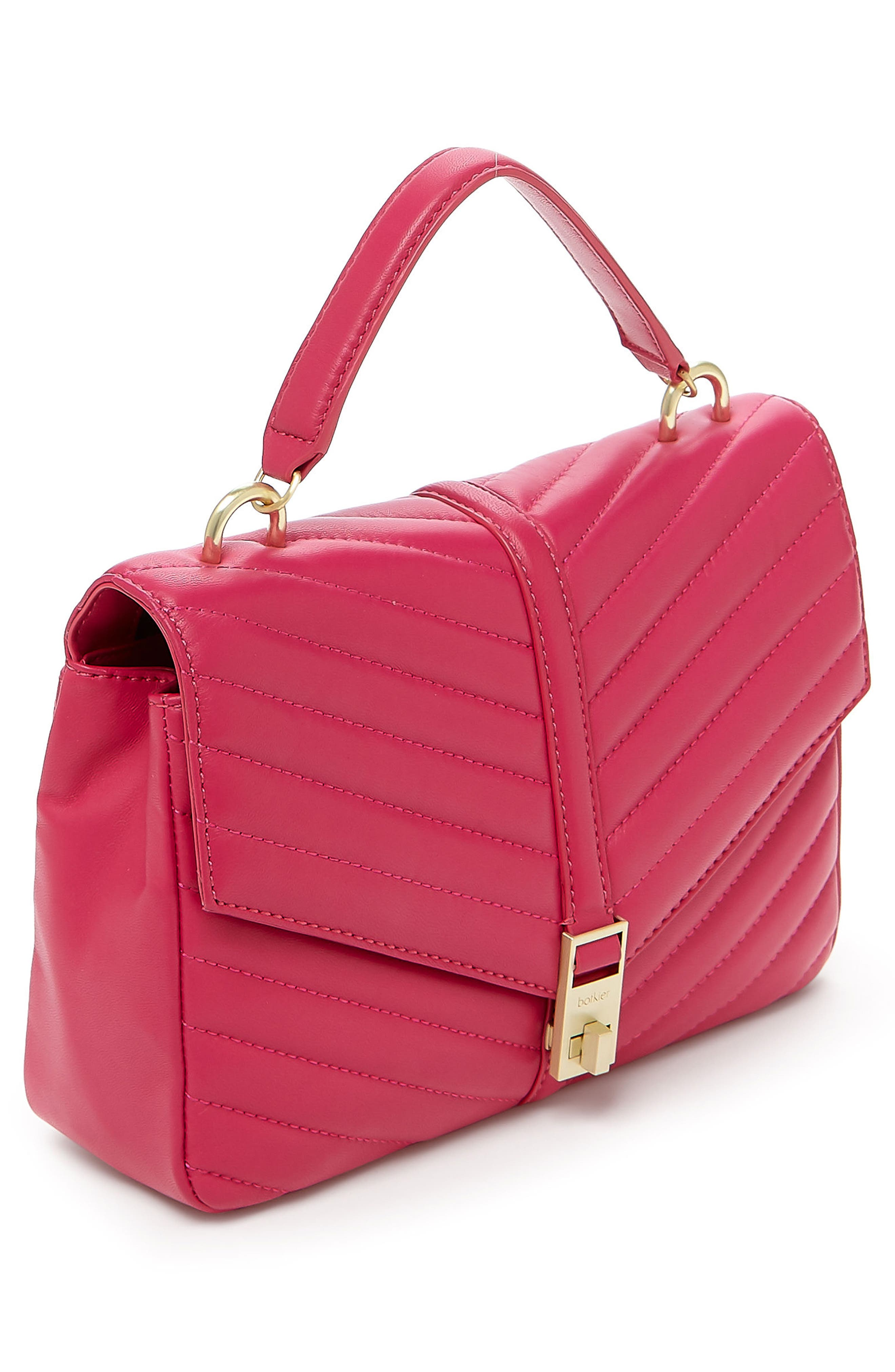 Dakota Quilted Leather Top Handle Bag,                             Alternate thumbnail 4, color,                             Pink