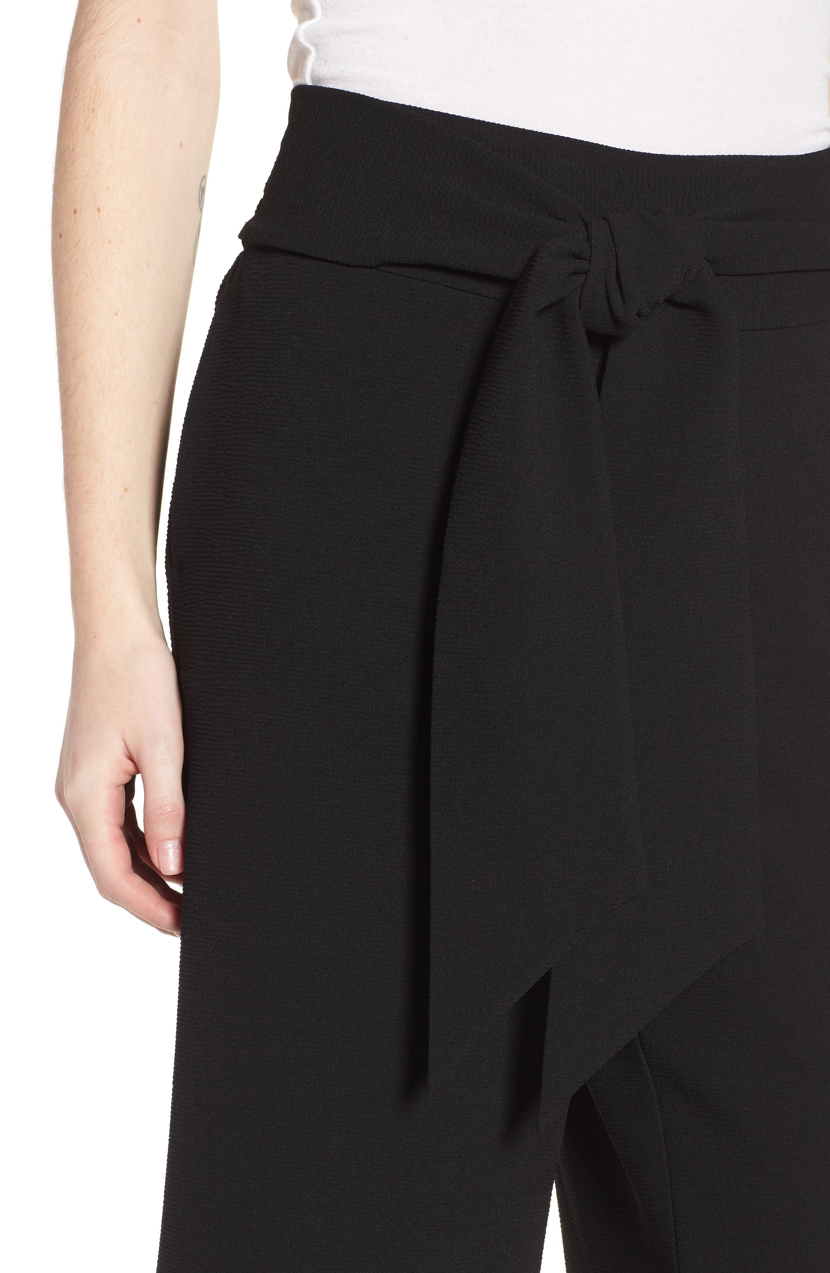 Trouvé Tie Front Wide Leg Pants,                             Alternate thumbnail 4, color,                             Black