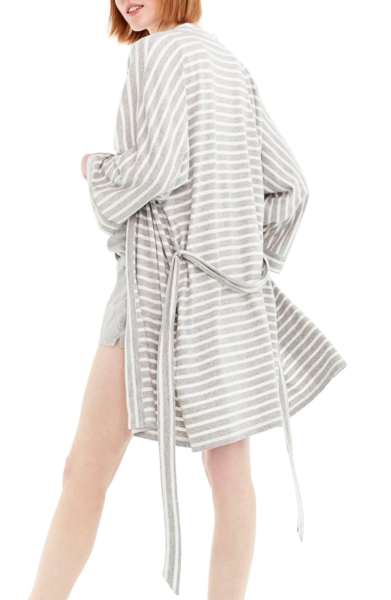 Stripe Stretch Cotton Robe,                             Alternate thumbnail 2, color,                             Hthr Gray Ivory