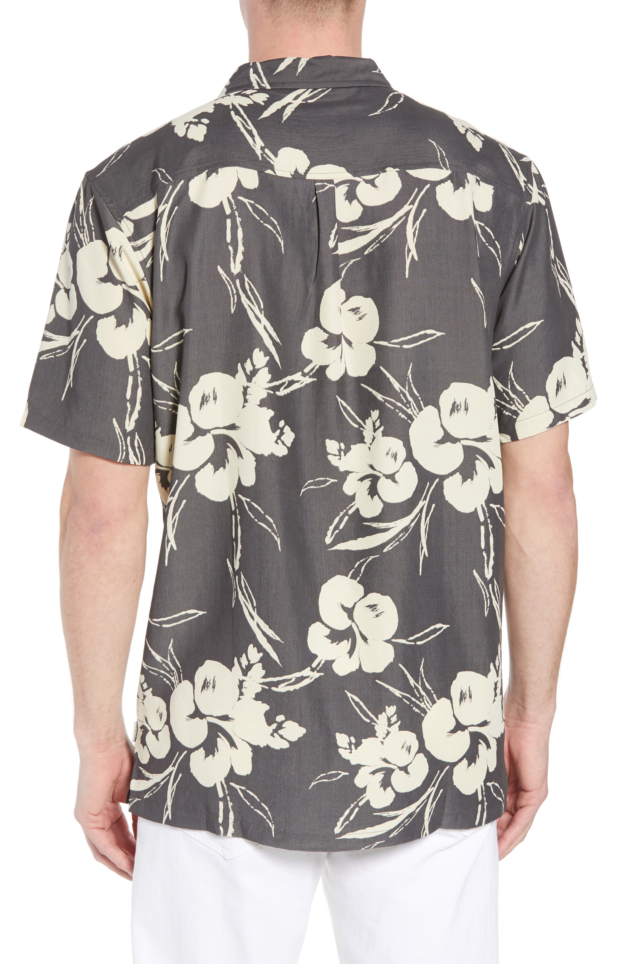 Aloha Print Sport Shirt,                             Alternate thumbnail 2, color,                             Dark Charcoal