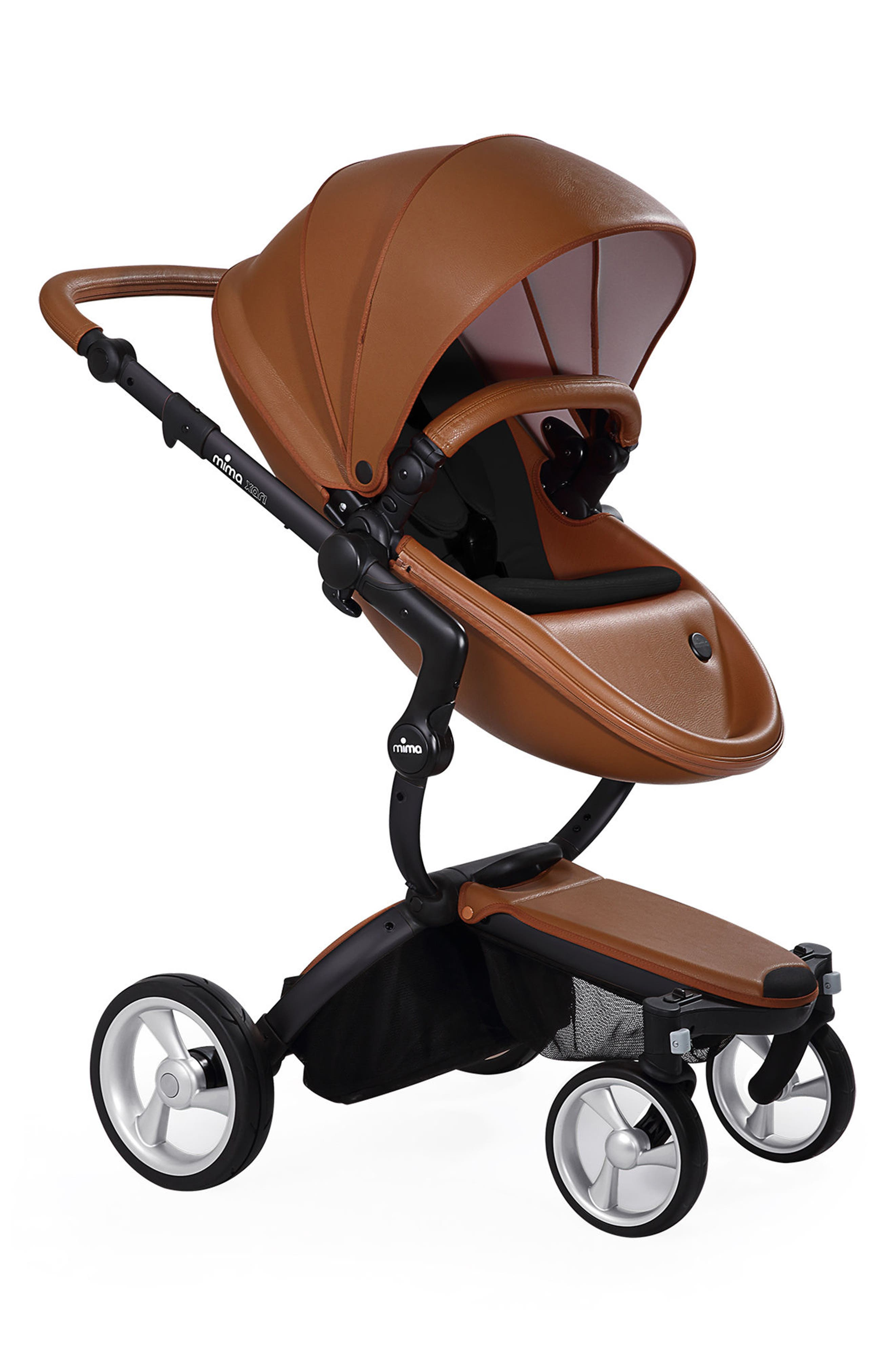 Xari Black Chassis Stroller with Reversible Reclining Seat & Carrycot,                             Main thumbnail 1, color,                             Camel / Black