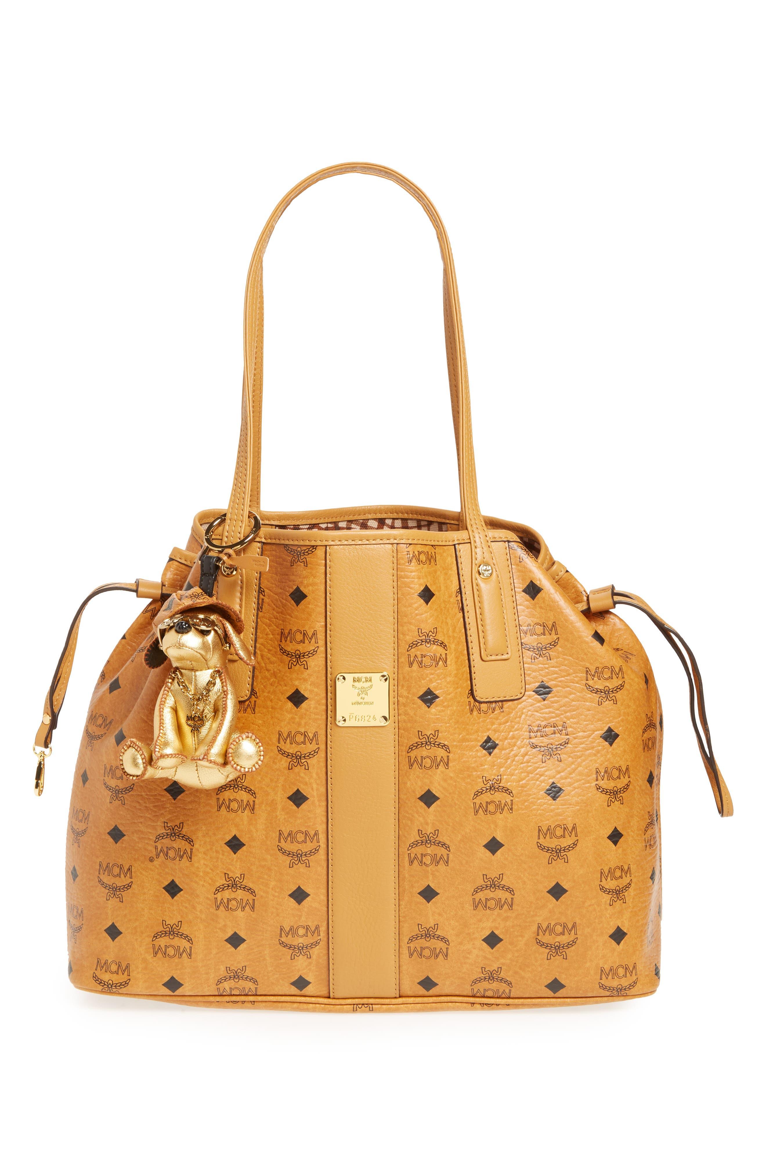 Dog Metallic Leather Bag Charm,                             Alternate thumbnail 2, color,                             Gold