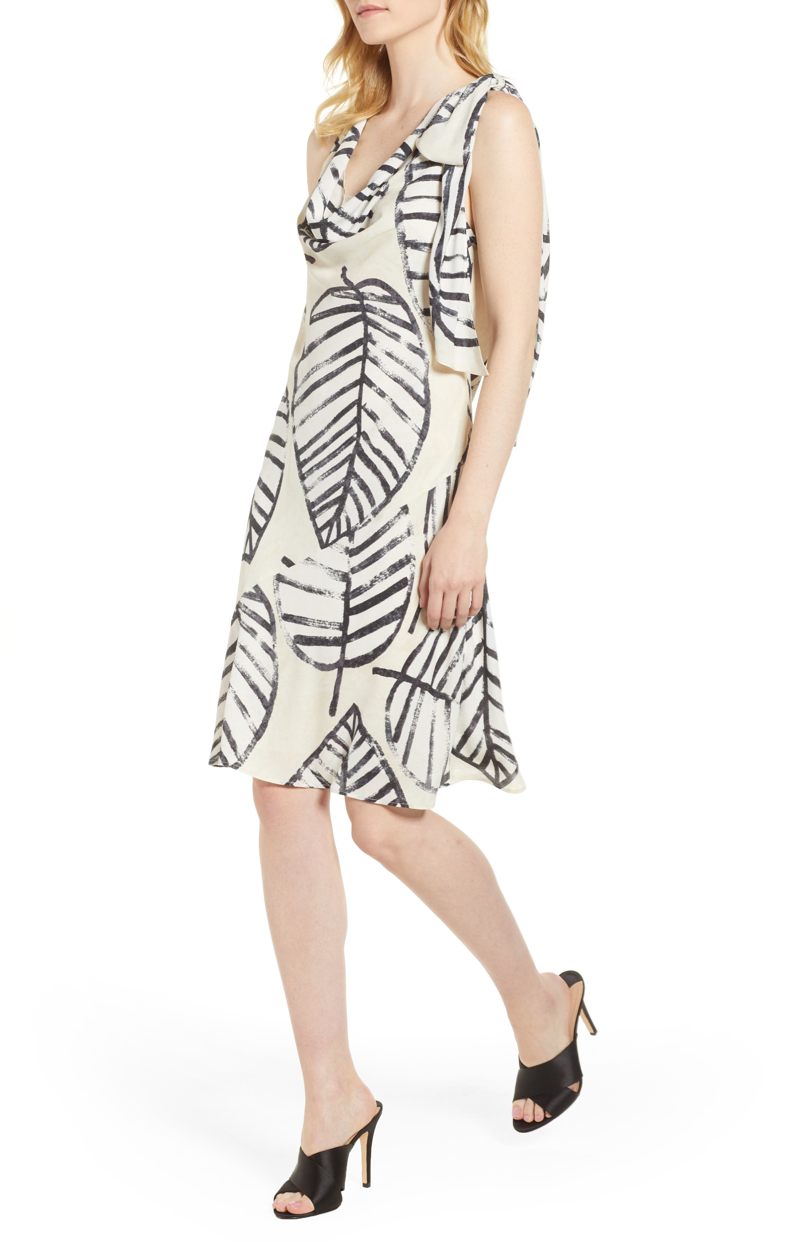 Etched Leaves Tie Dress,                             Main thumbnail 1, color,                             Multi