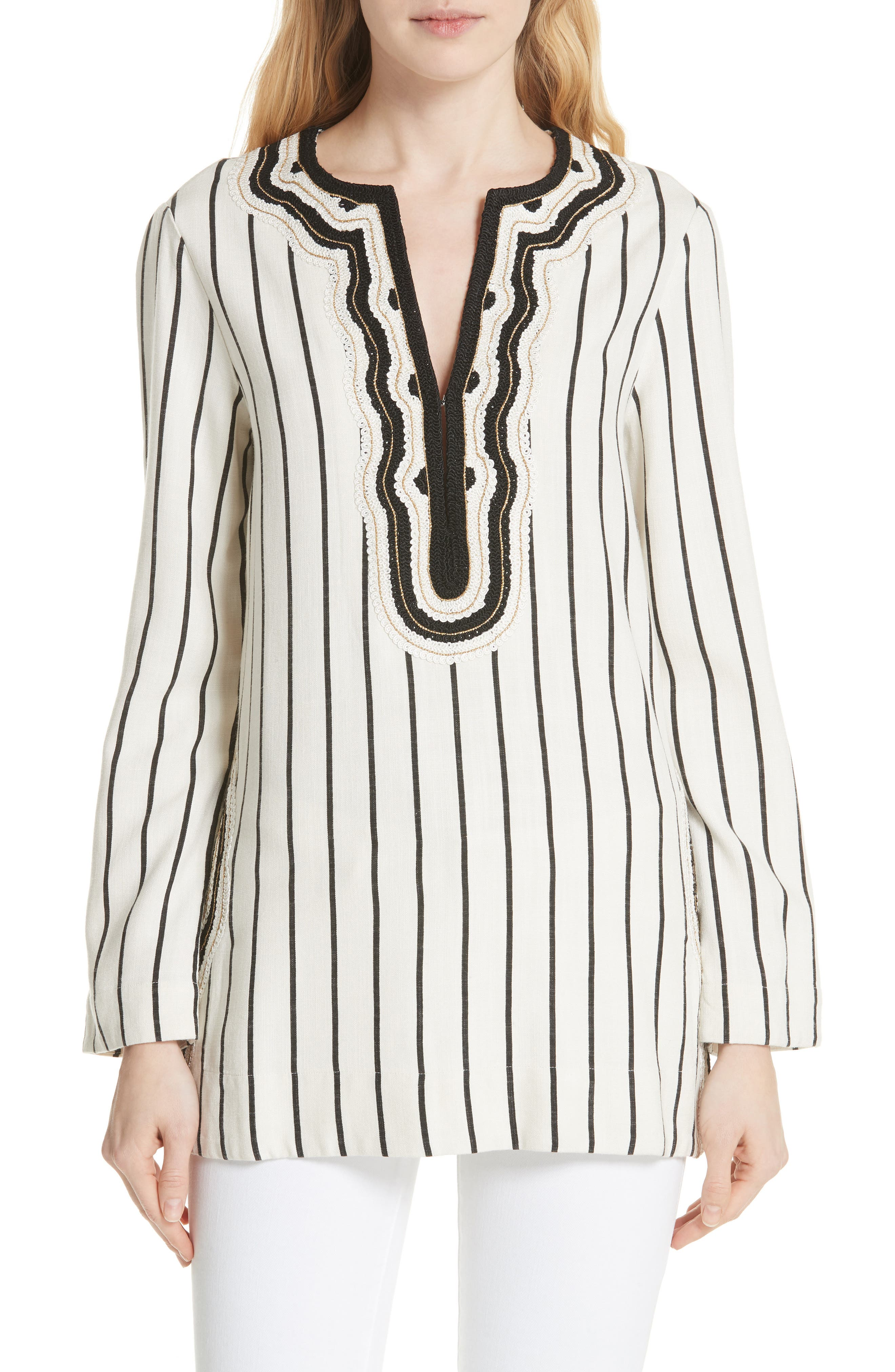 Tory Embellished Stripe Tunic,                             Main thumbnail 1, color,                             New Ivory/ Black