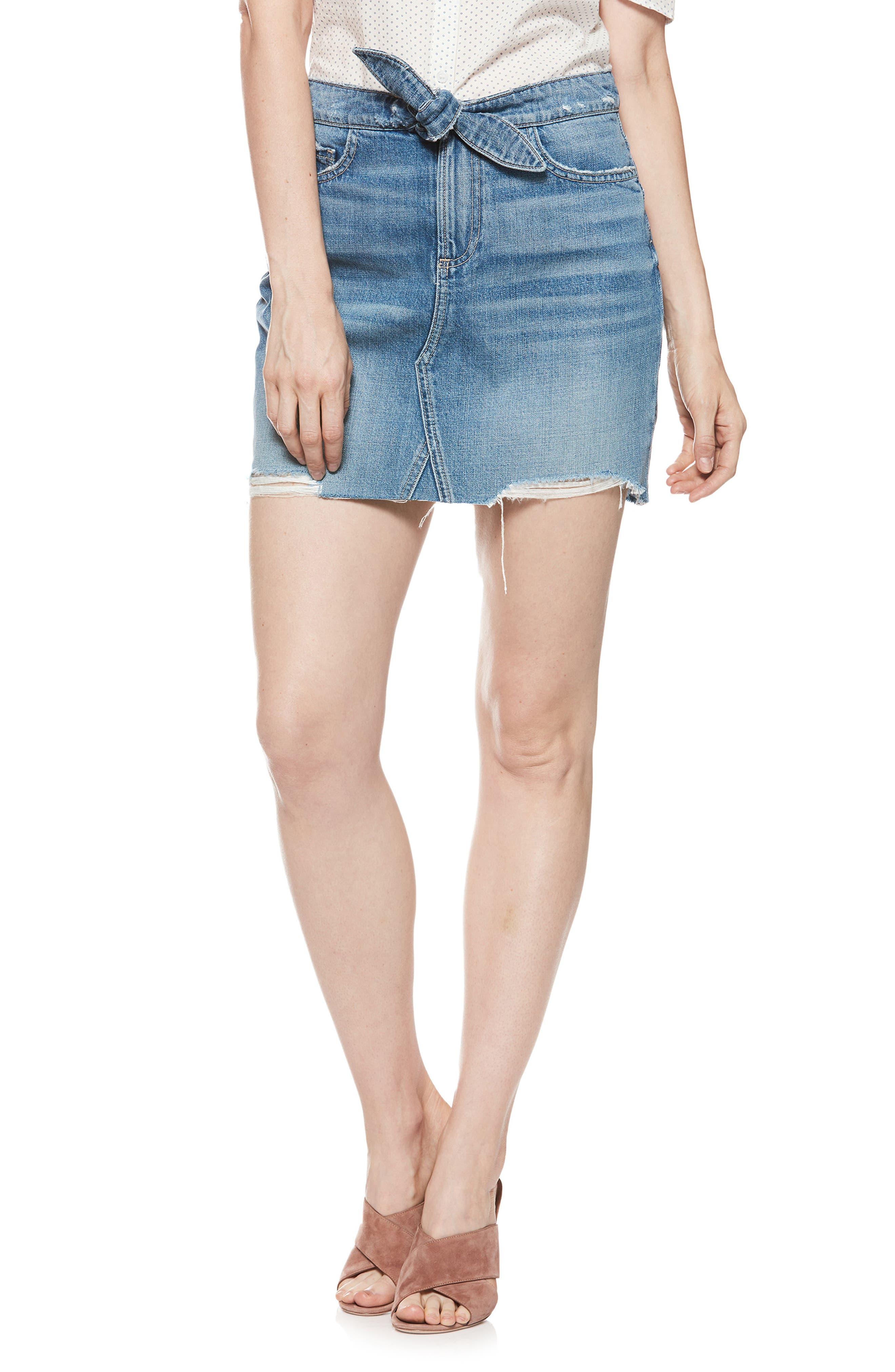 Alethea High Waist Denim Skirt,                             Main thumbnail 1, color,                             Arissa Destructed