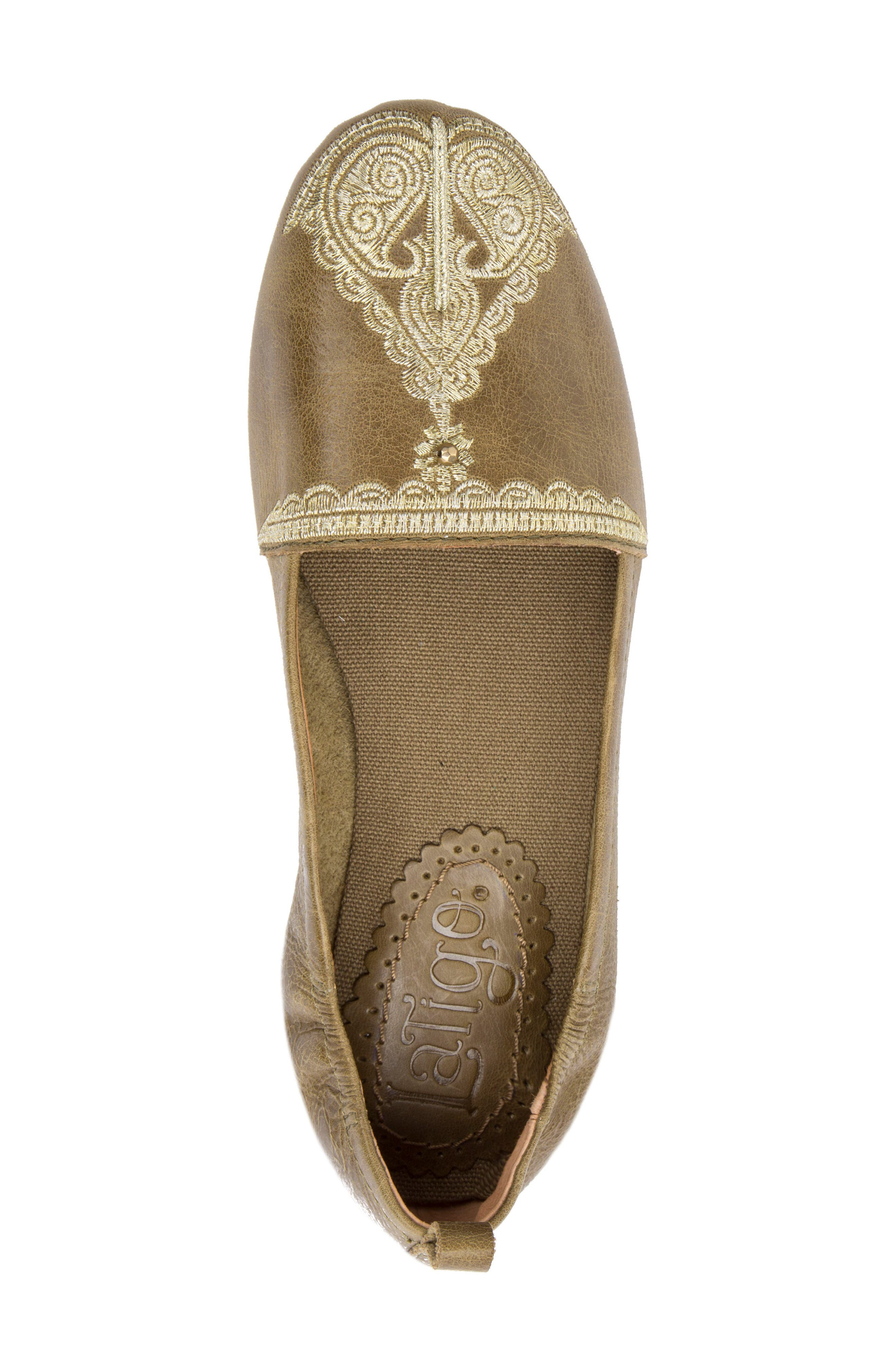 Bonzai Embroidered Flat,                             Alternate thumbnail 5, color,                             Olive Leather