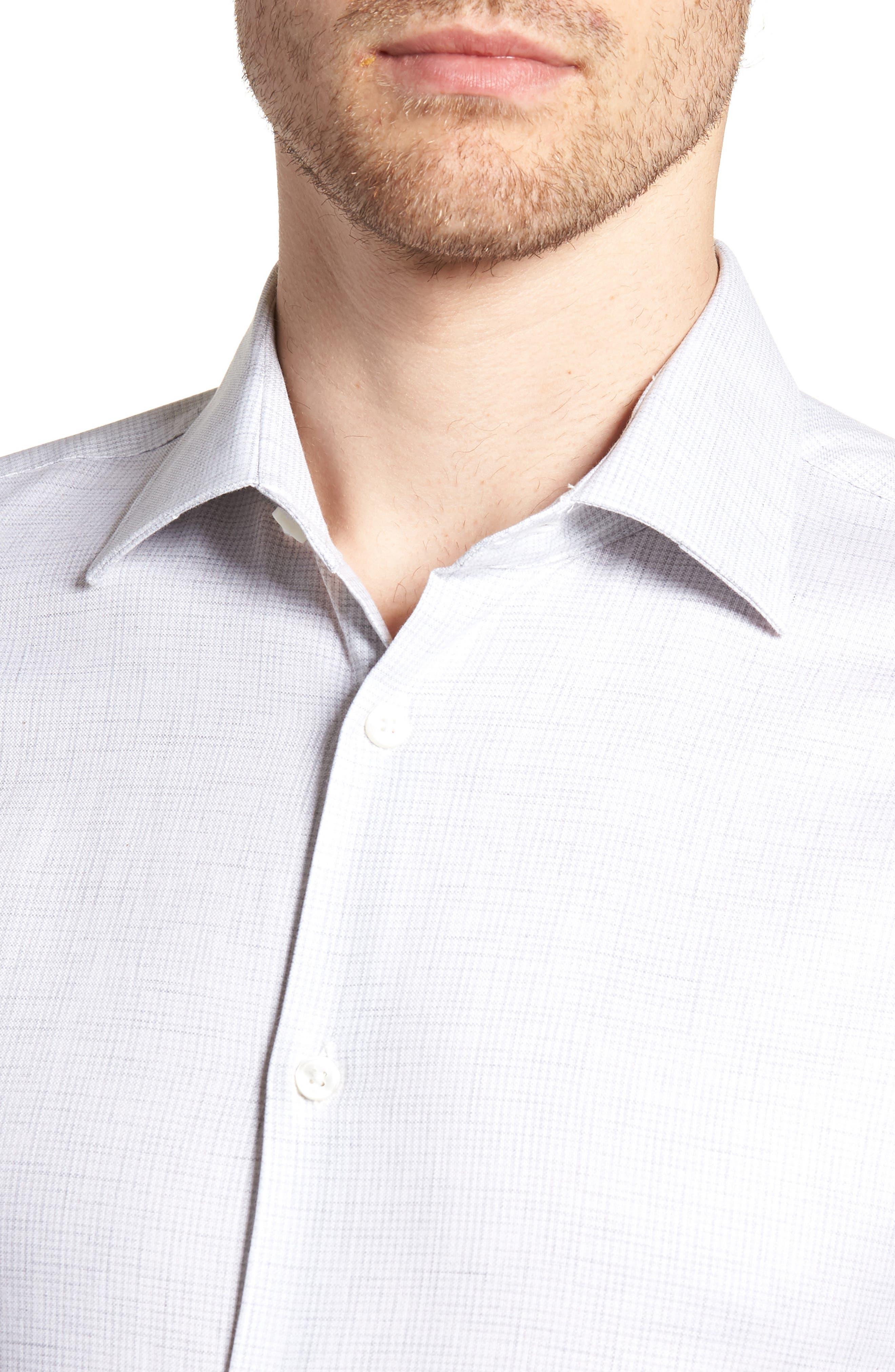 Regular Fit Stretch Check Dress Shirt,                             Alternate thumbnail 2, color,                             Grey