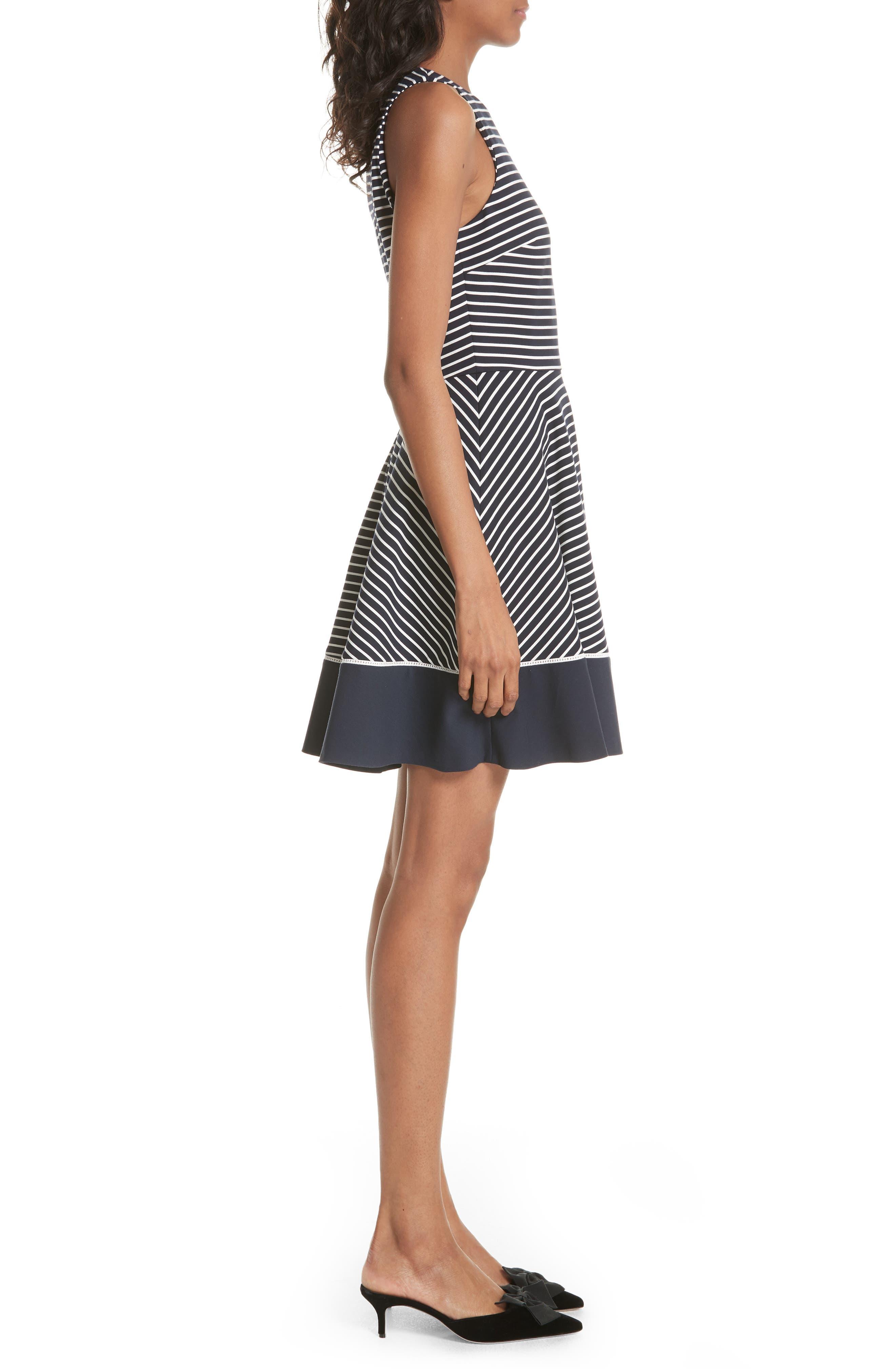 stripe ponte fit & flare dress,                             Alternate thumbnail 3, color,                             Rich Navy/ Off White
