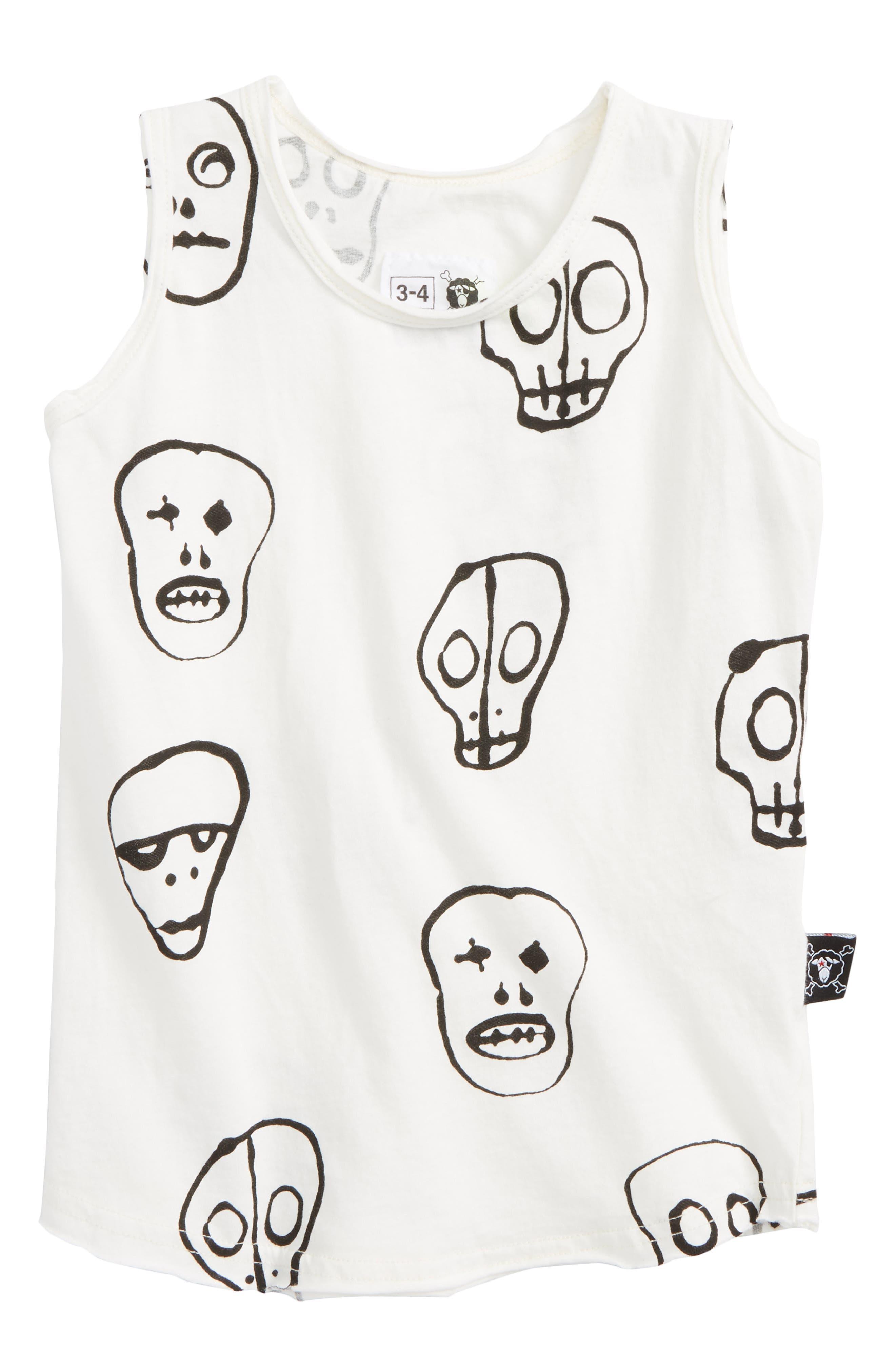 Skull Print Tank,                         Main,                         color, White