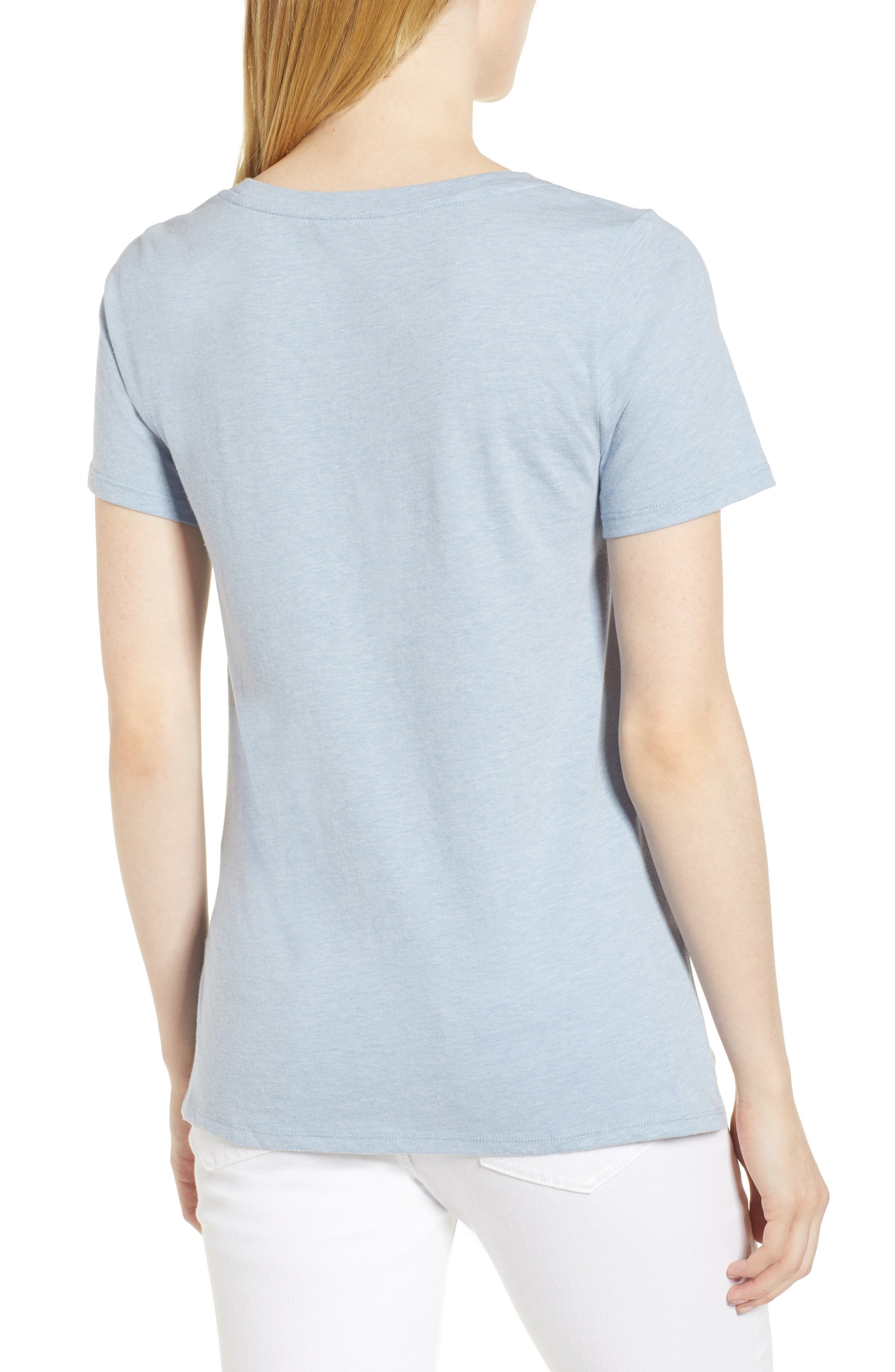Cutout Neck Front Tie Tee,                             Alternate thumbnail 2, color,                             Washed Blue