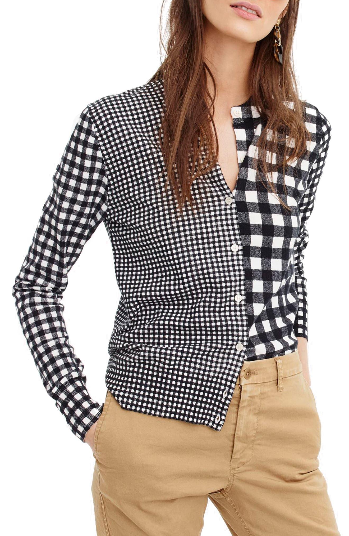 Jackie Mix Check Cotton Blend Cardigan,                         Main,                         color, White Black