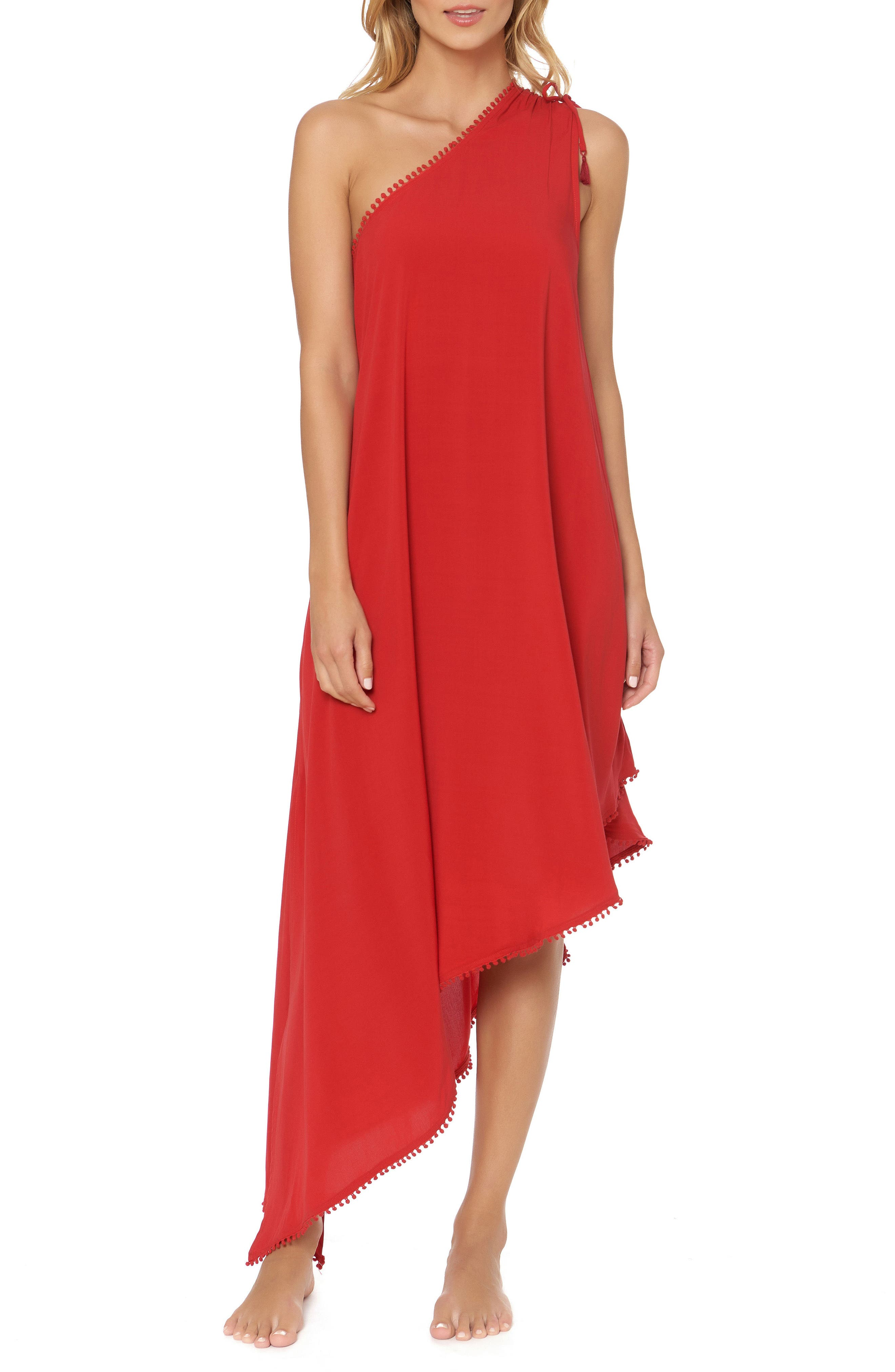One-Shoulder Maxi Cover-Up Dress,                         Main,                         color, Ruby