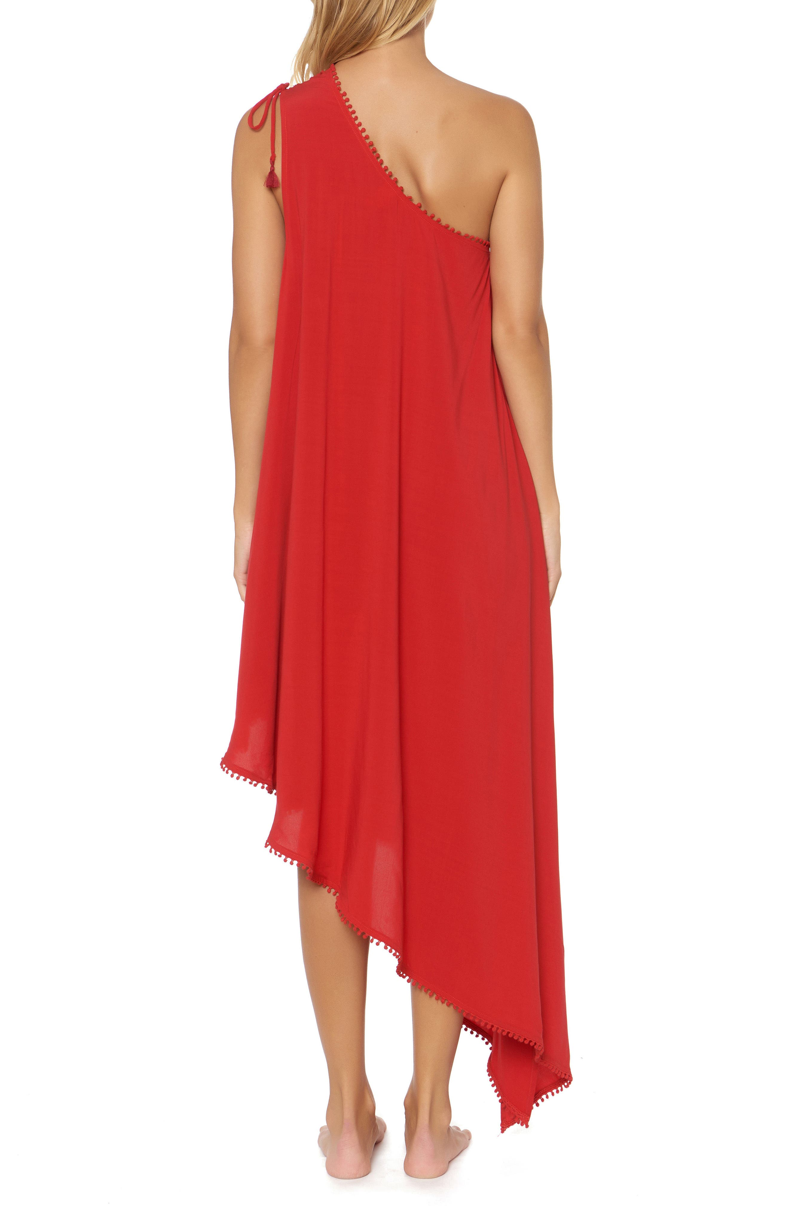 One-Shoulder Maxi Cover-Up Dress,                             Alternate thumbnail 2, color,                             Ruby