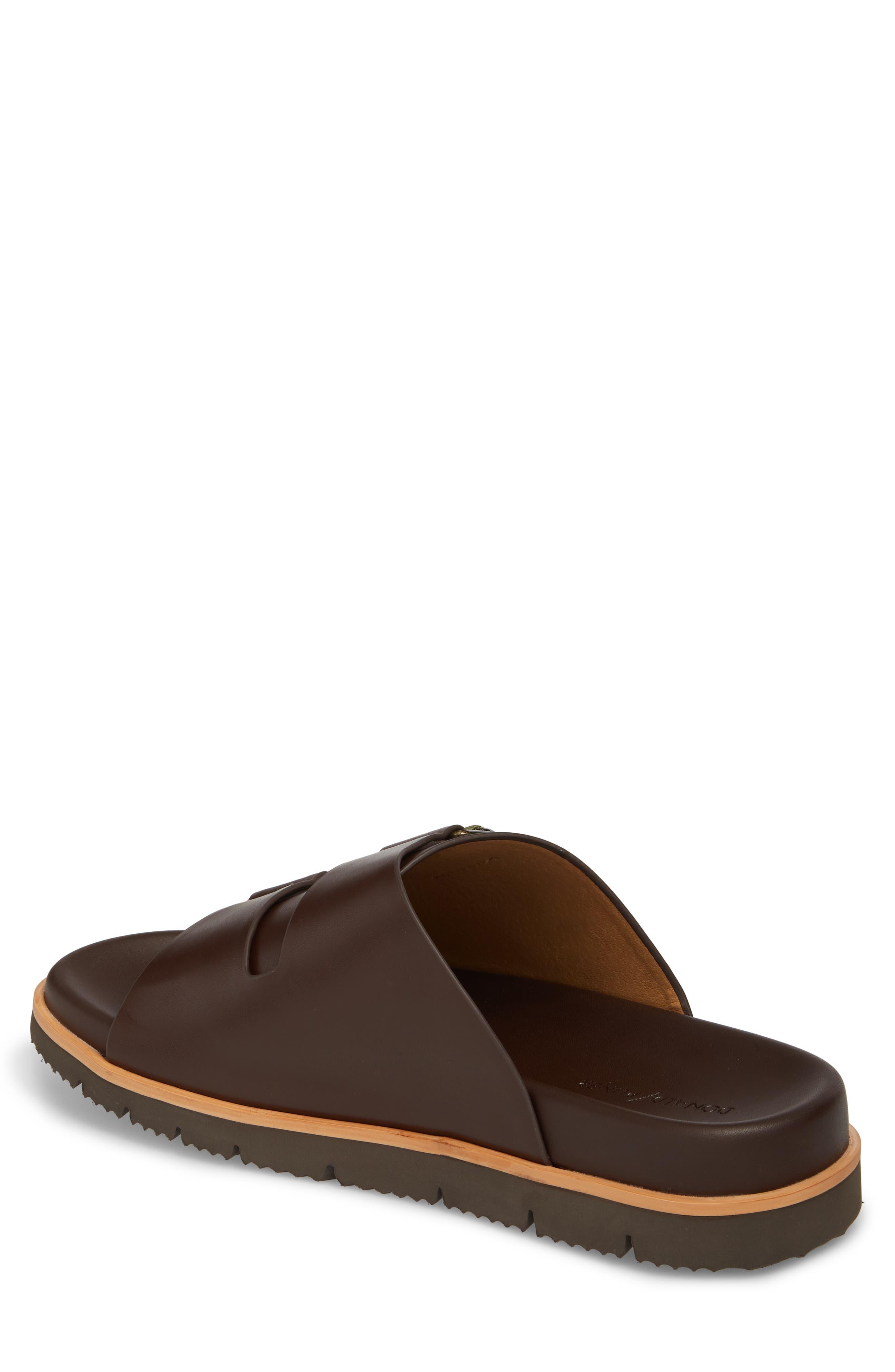 Slide Sandal,                             Alternate thumbnail 2, color,                             Expresso/ Tan Leather