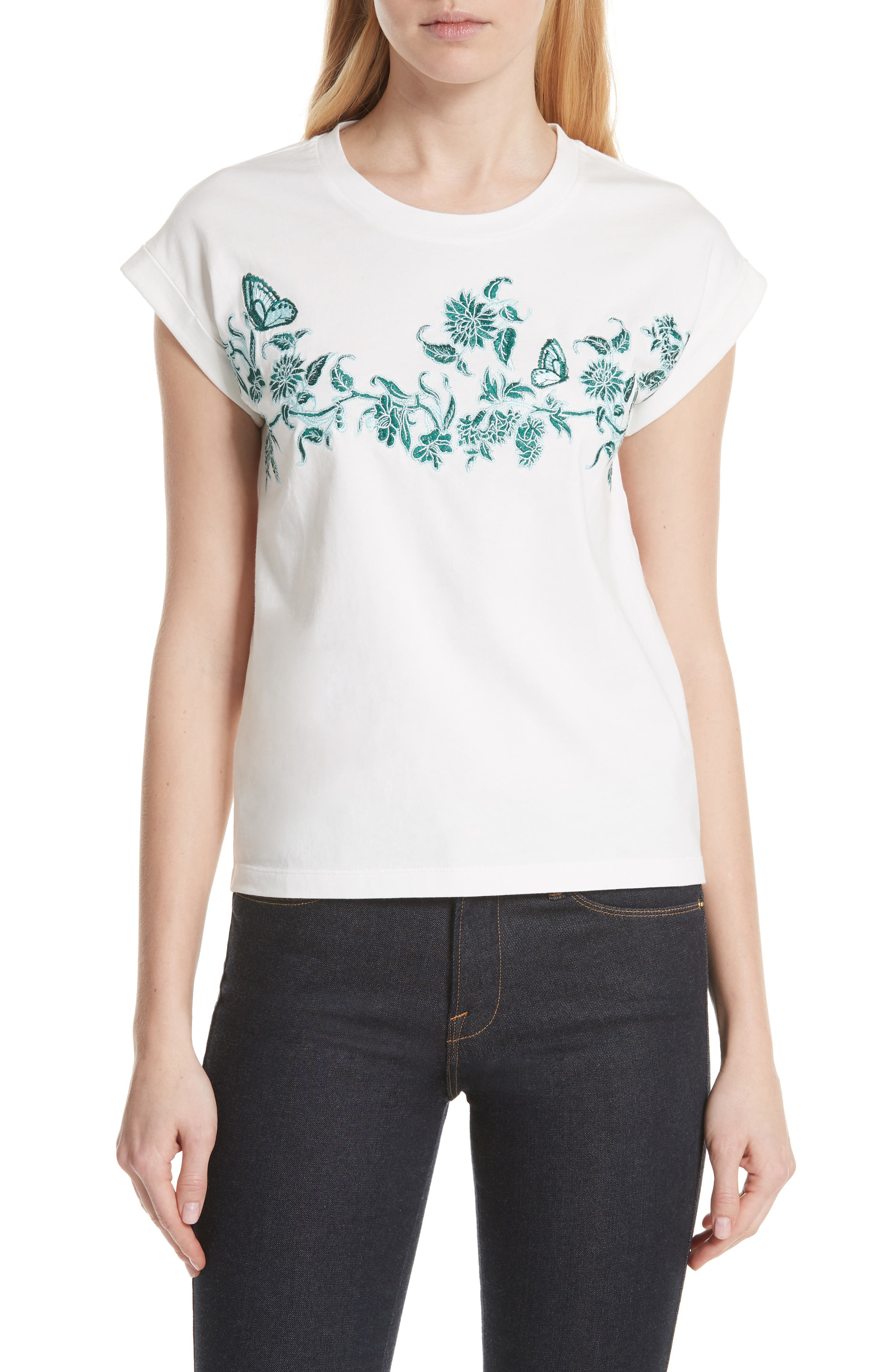 Floral Embroidered Tee,                             Main thumbnail 1, color,                             Ecru