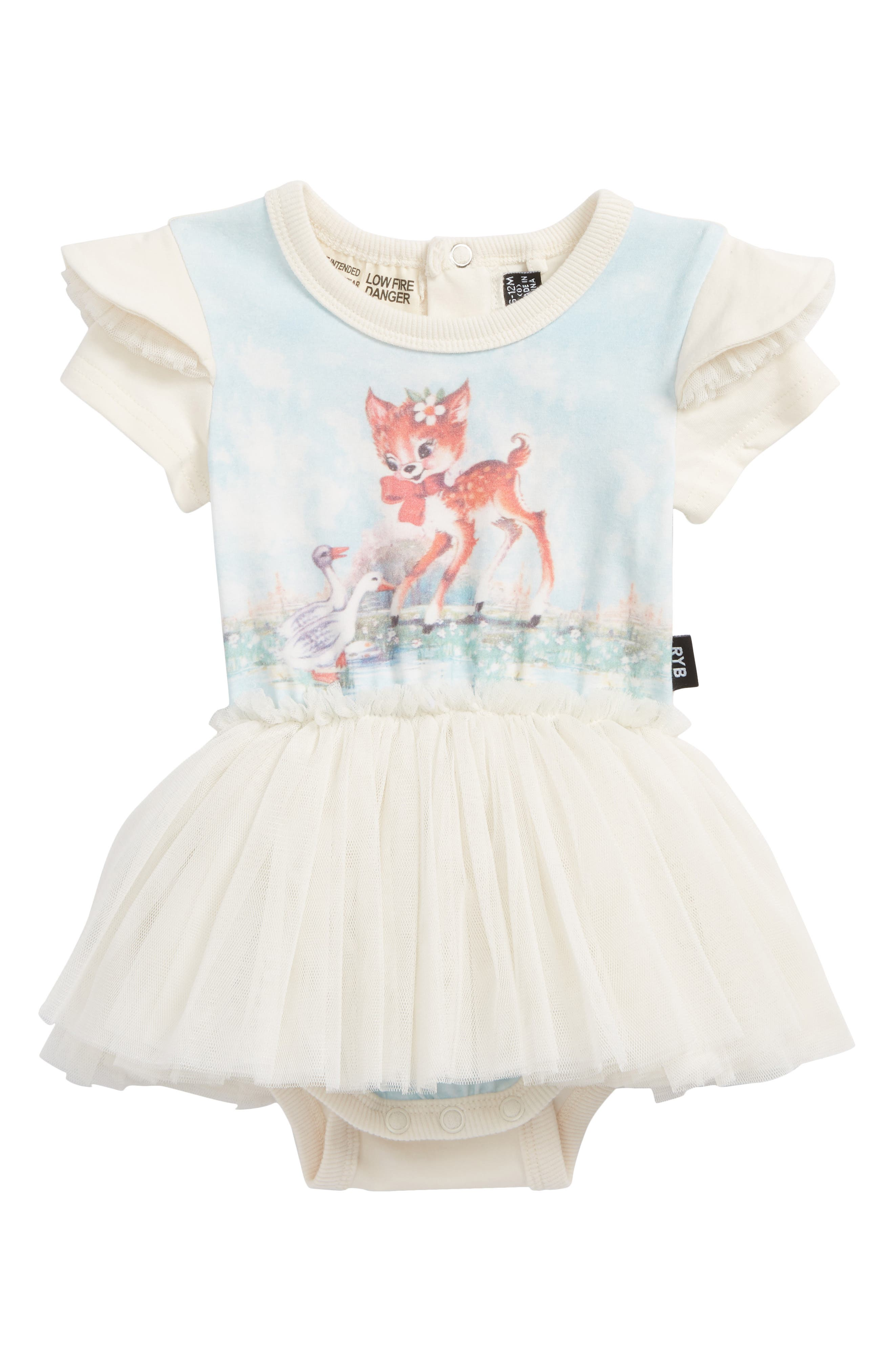 Doe a Deer Circus Bodysuit Dress,                             Main thumbnail 1, color,                             Cream