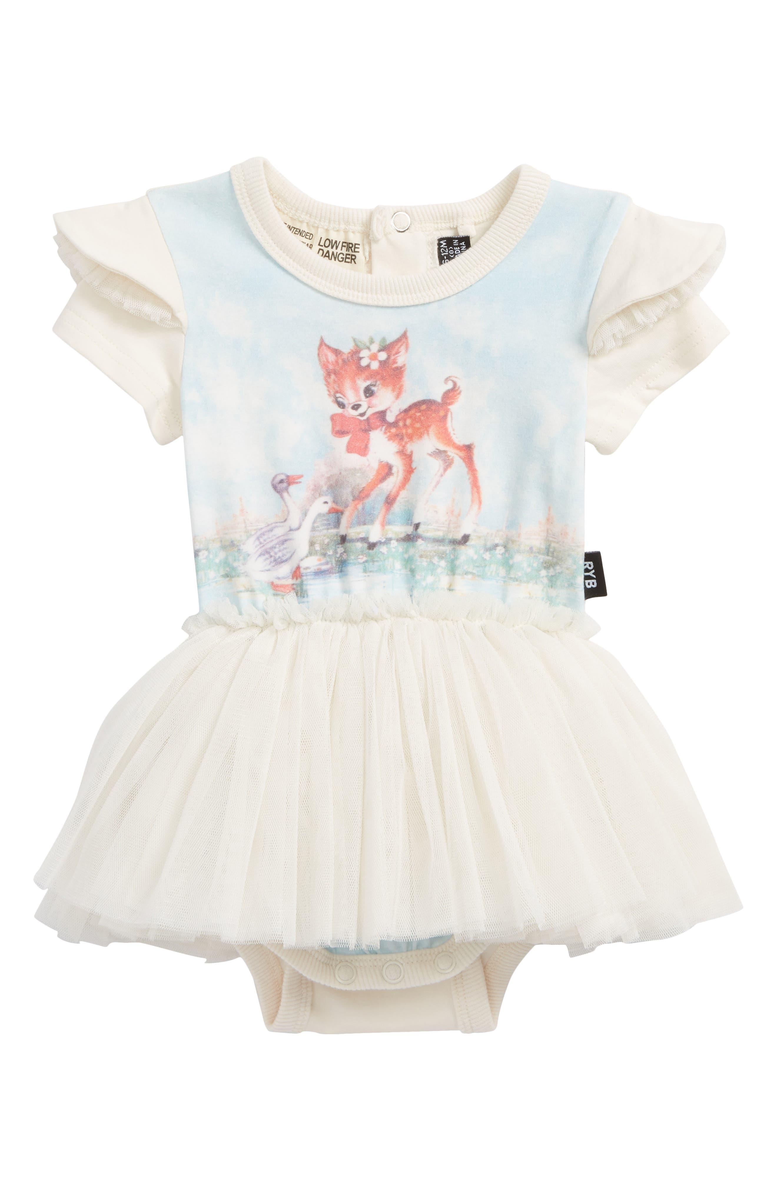 Doe a Deer Circus Bodysuit Dress,                         Main,                         color, Cream
