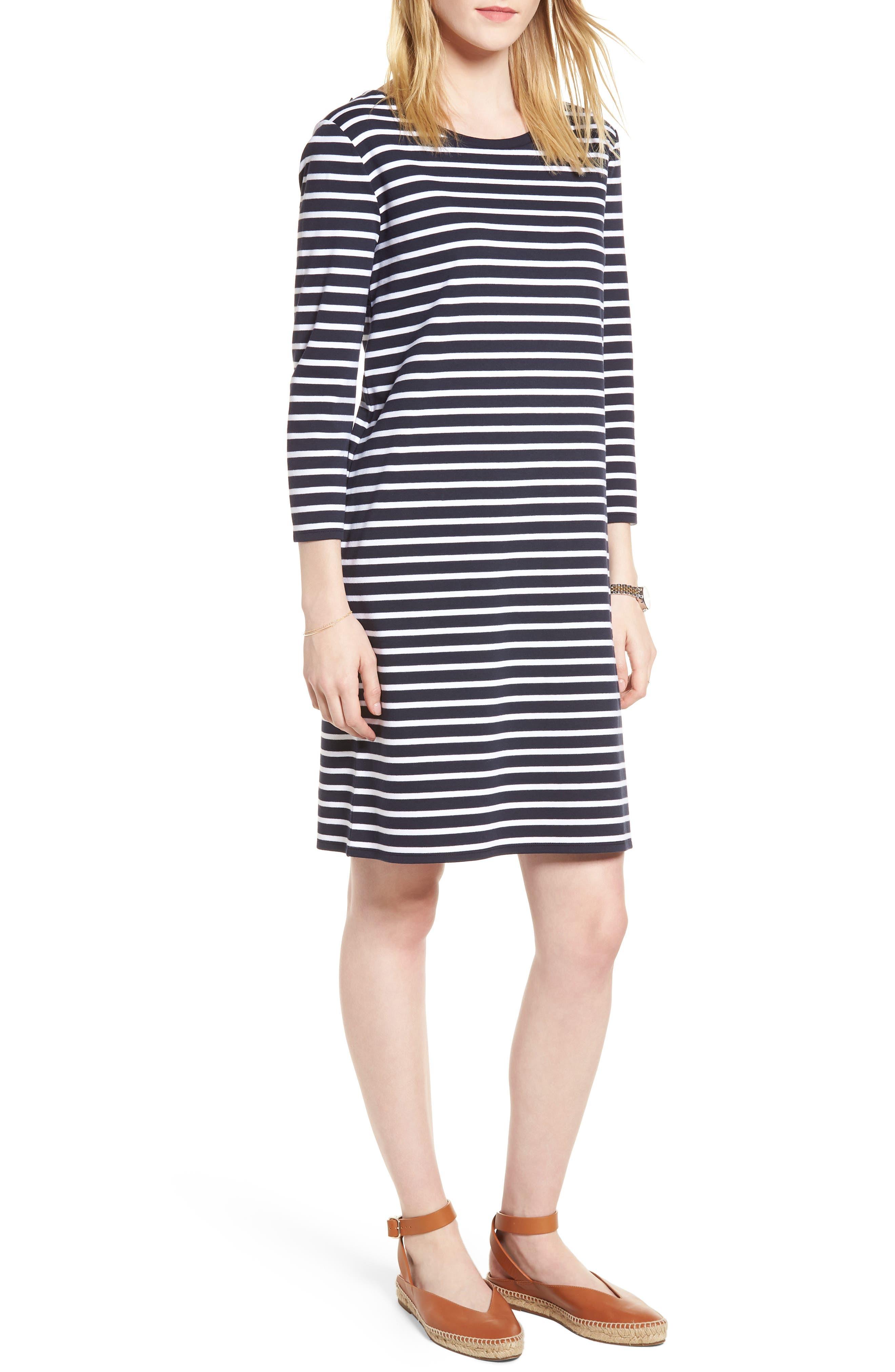 Bow Back Stripe Knit Dress,                         Main,                         color, Navy- White Stripe