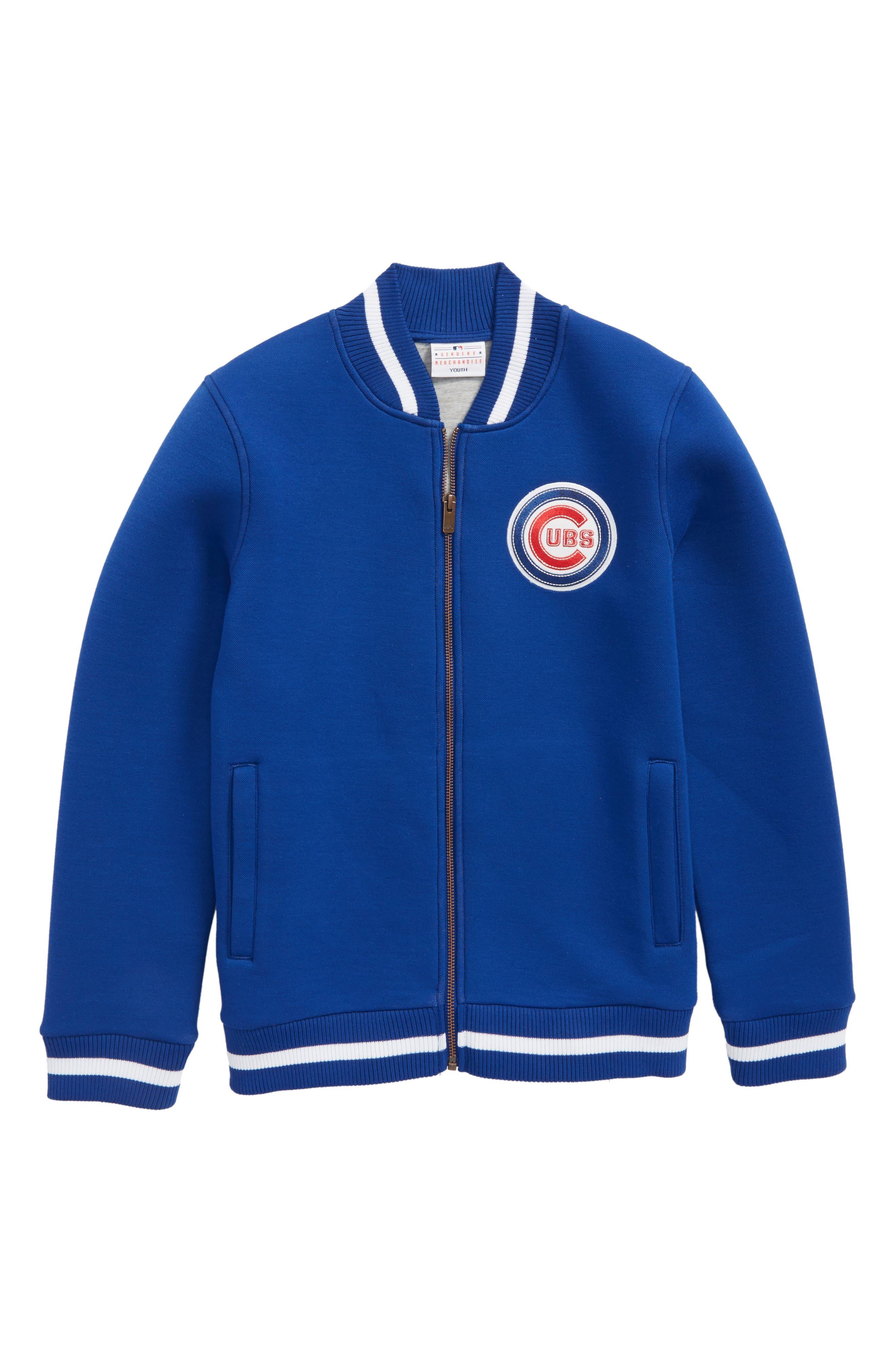 Classical Chicago Cubs Knit Varsity Jacket,                         Main,                         color, Royal
