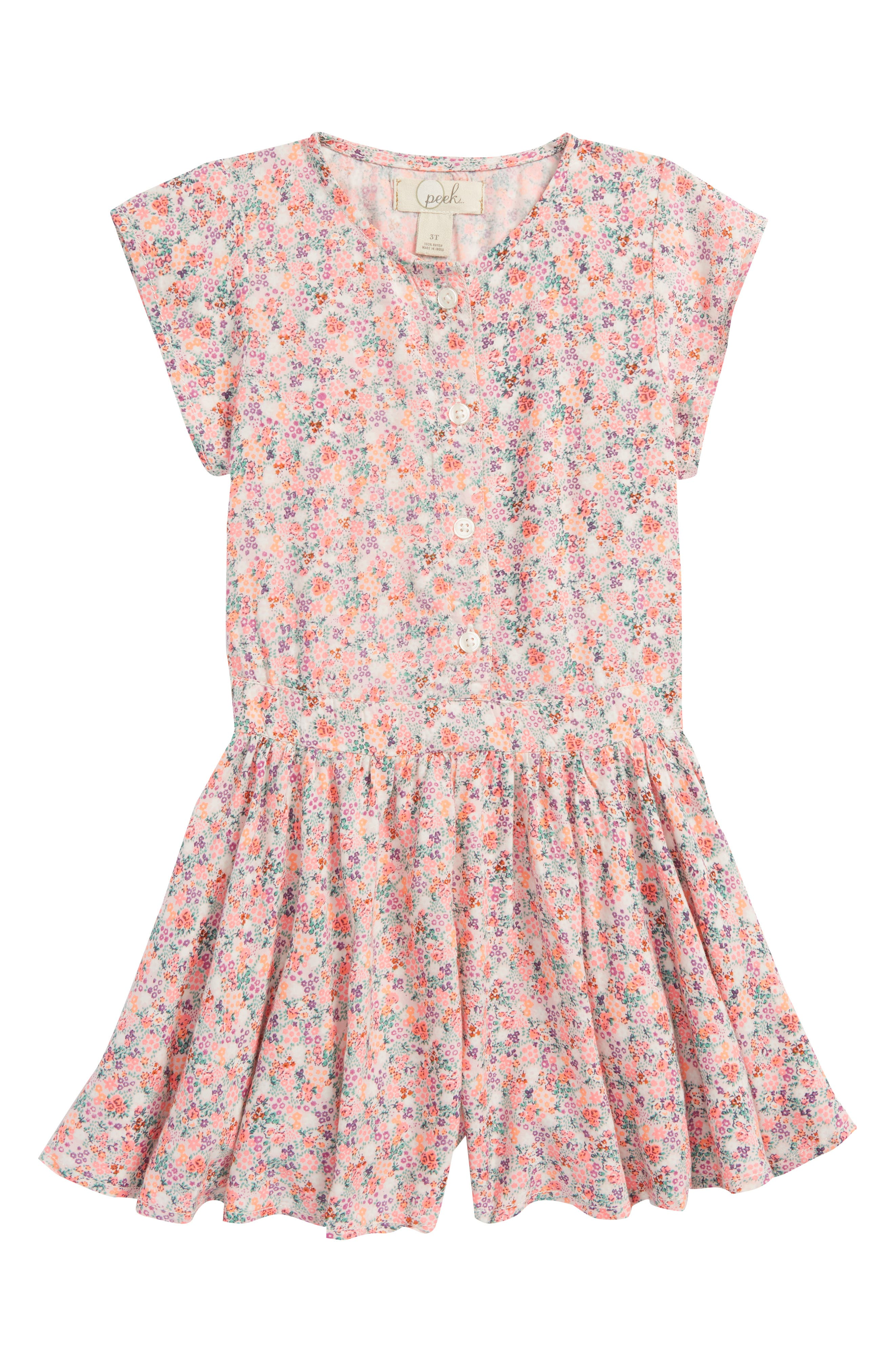 Main Image - Peek Lenora Floral Romper (Toddler Girls, Little Girls & Big Girls)