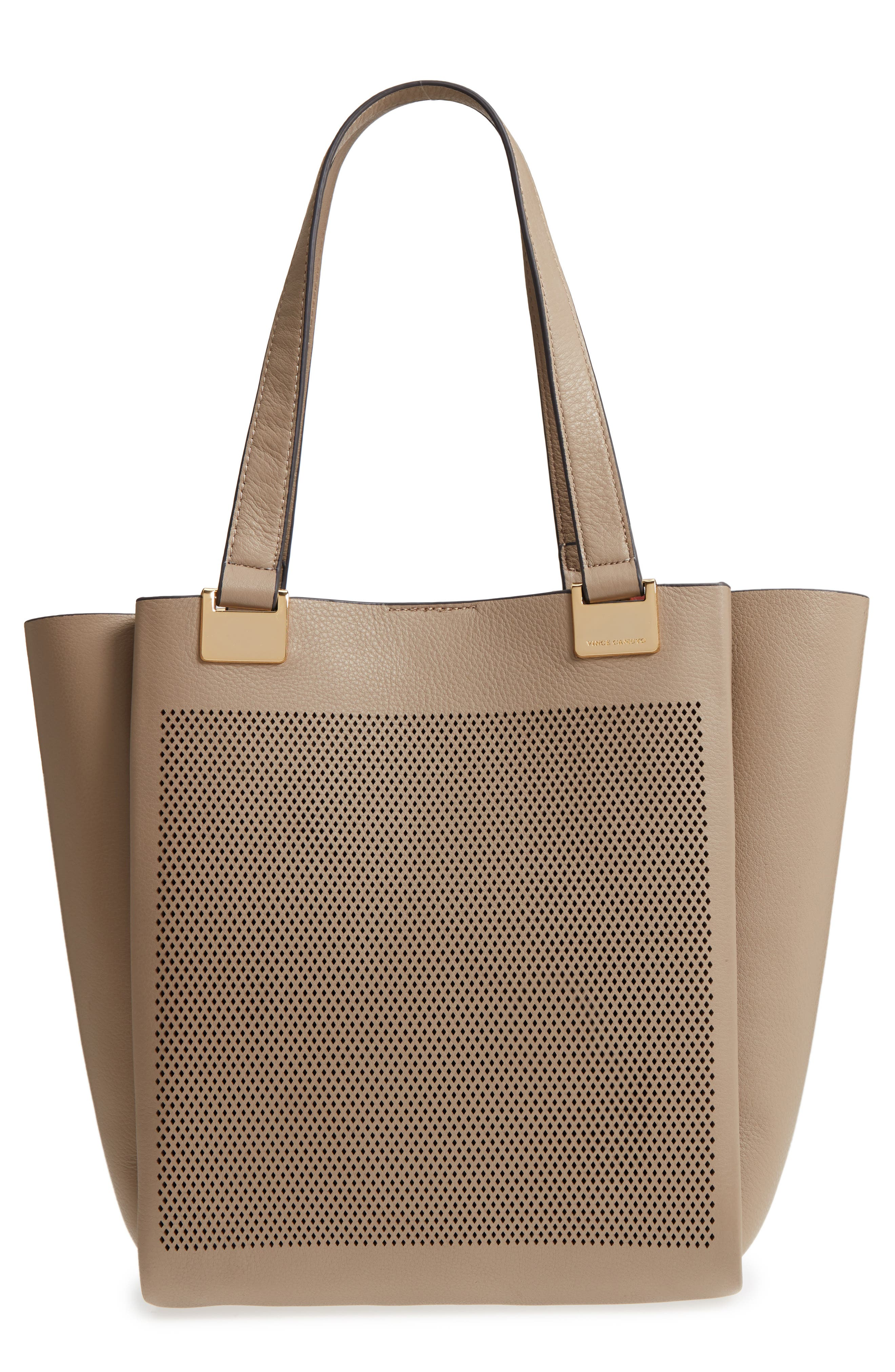 Beatt Perforated Leather Tote,                             Main thumbnail 1, color,                             Kangaroo/ Sushi