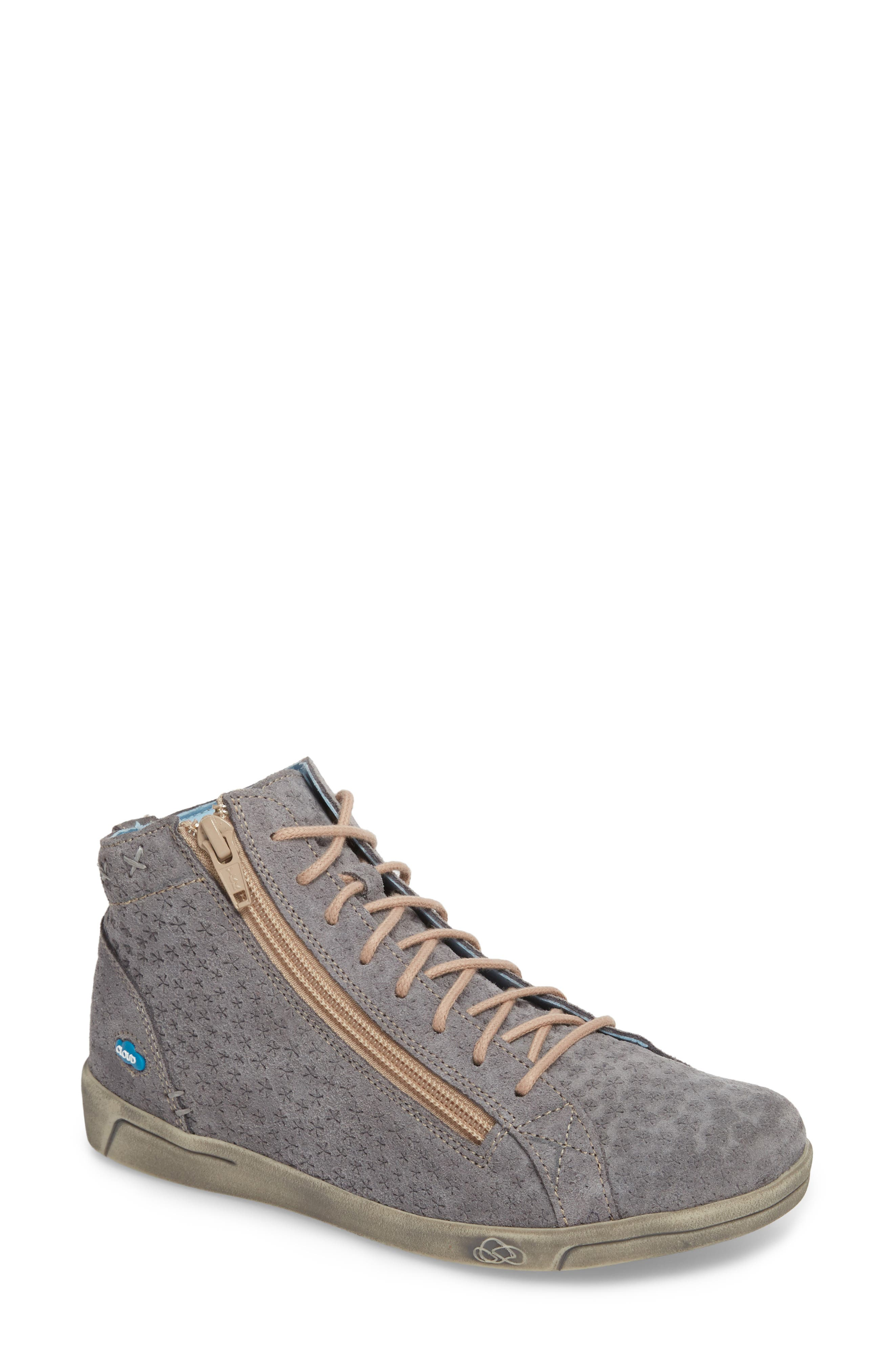 Aika Star Perforated High Top Sneaker,                             Main thumbnail 1, color,                             Grey Leather