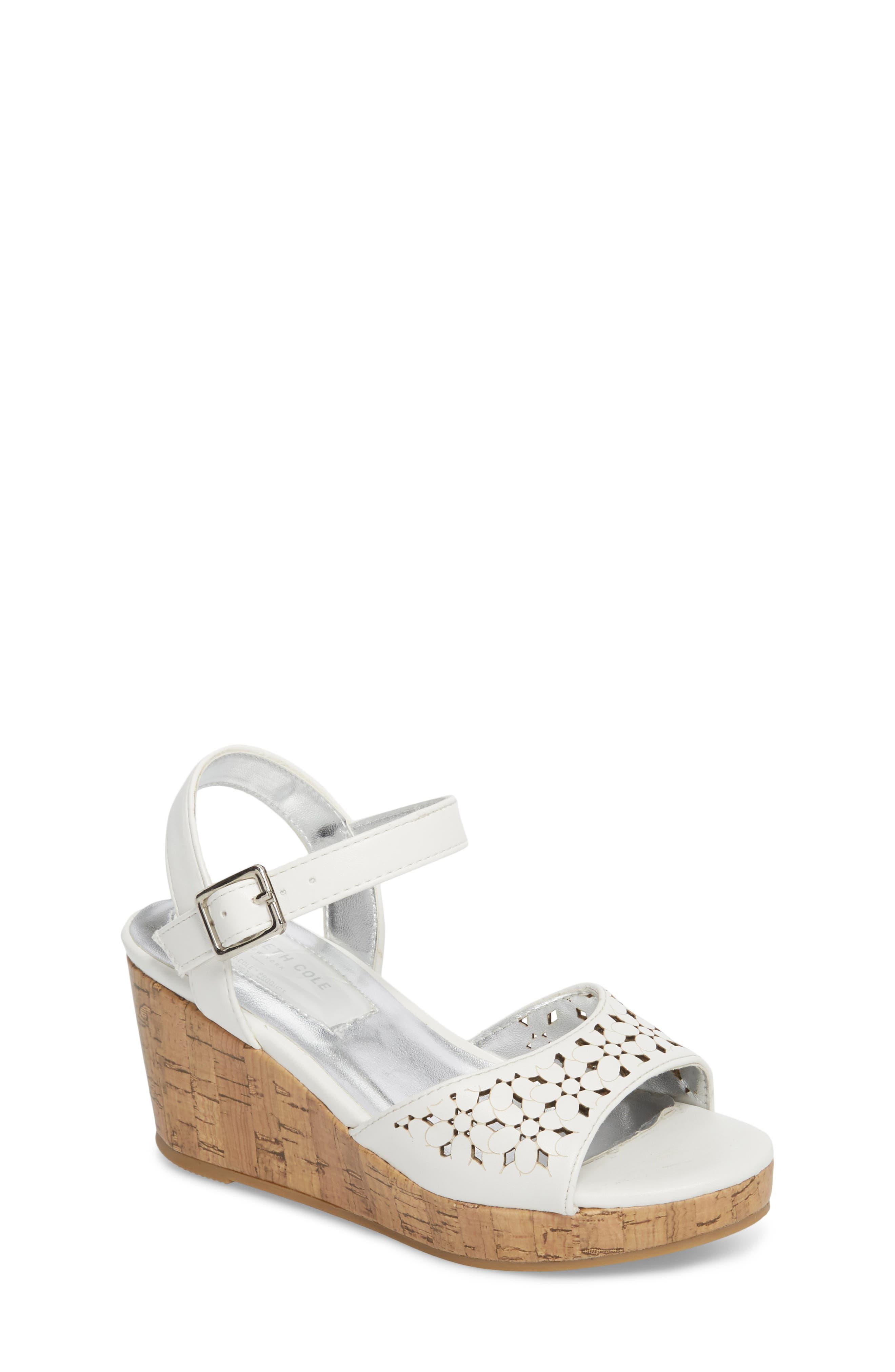 Corrine Flower Wedge Sandal,                         Main,                         color, White