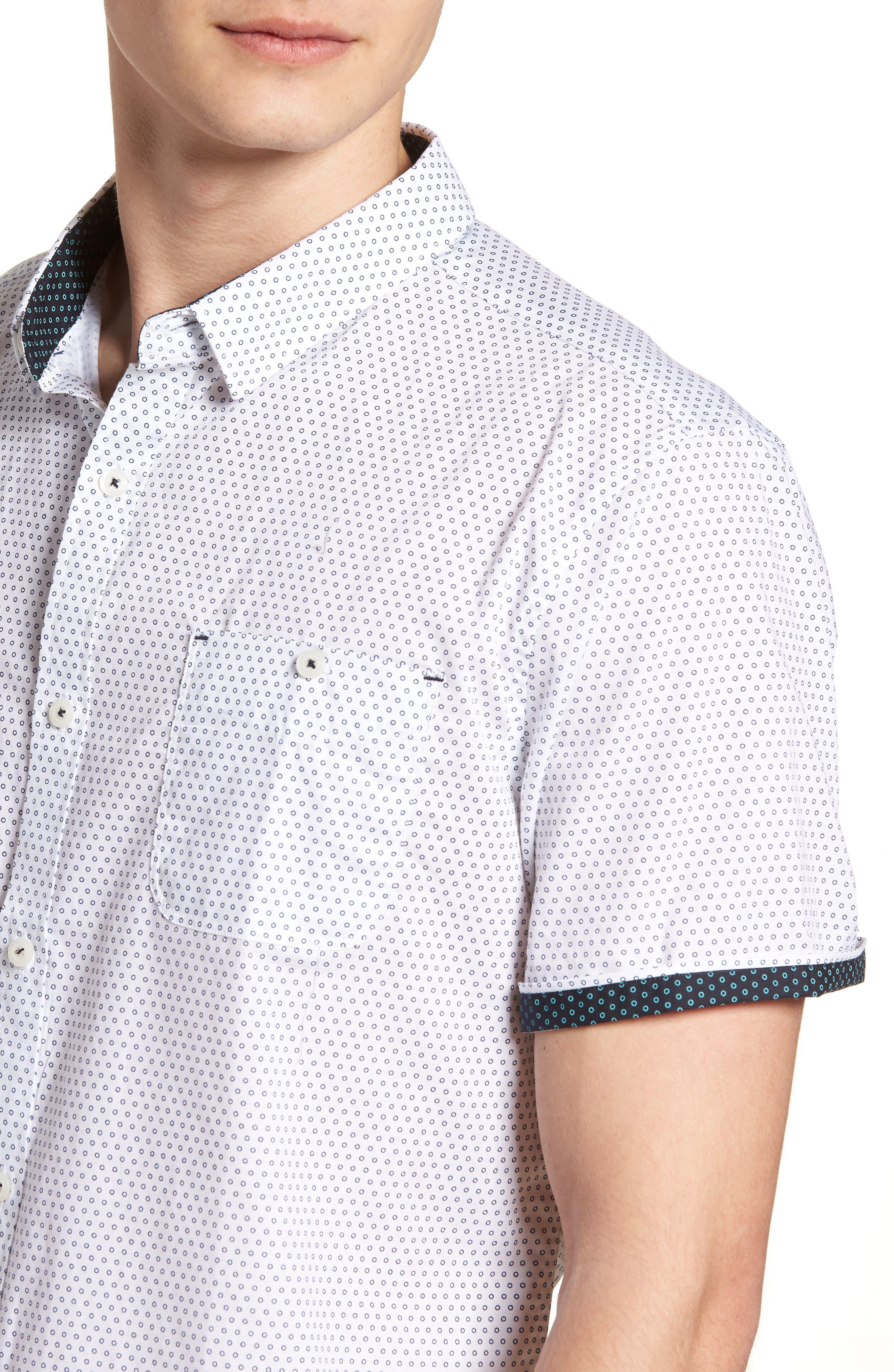 Lights of Home Slim Fit Short Sleeve Sport Shirt,                             Alternate thumbnail 4, color,                             White