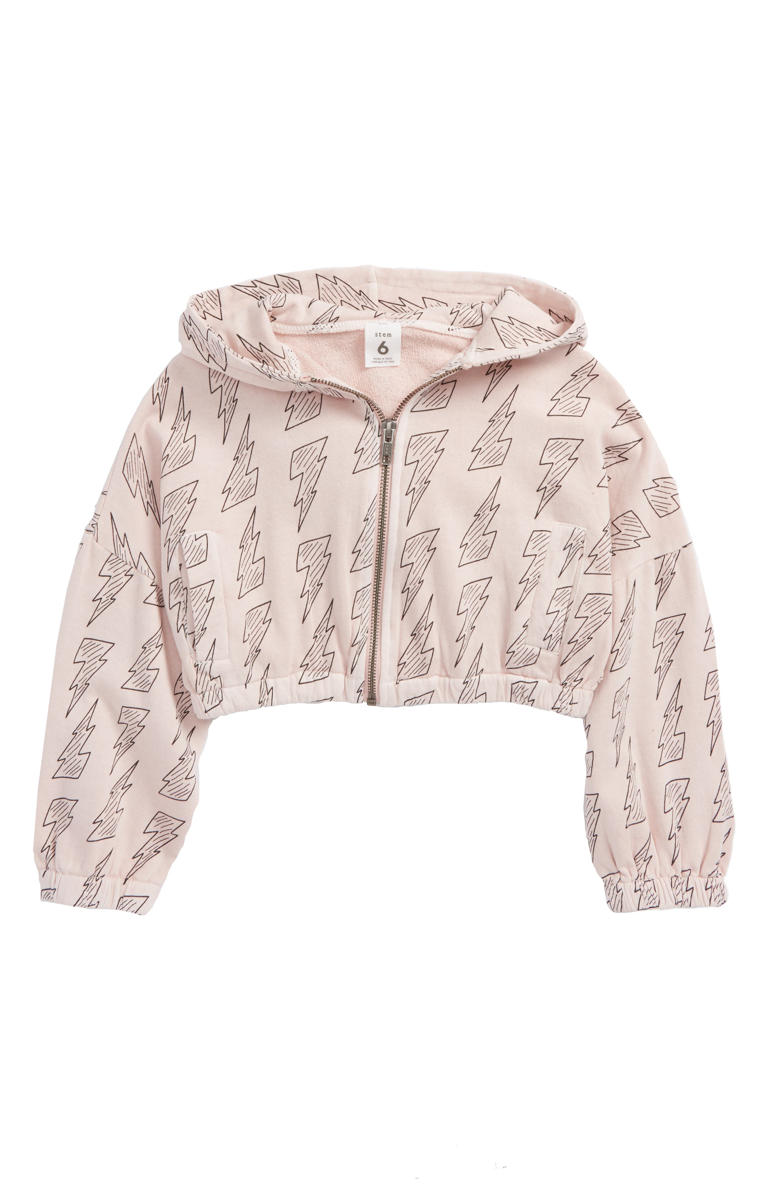 Stem Print Zip Hoodie (Toddler Girls, Little Girls & Big Girls)