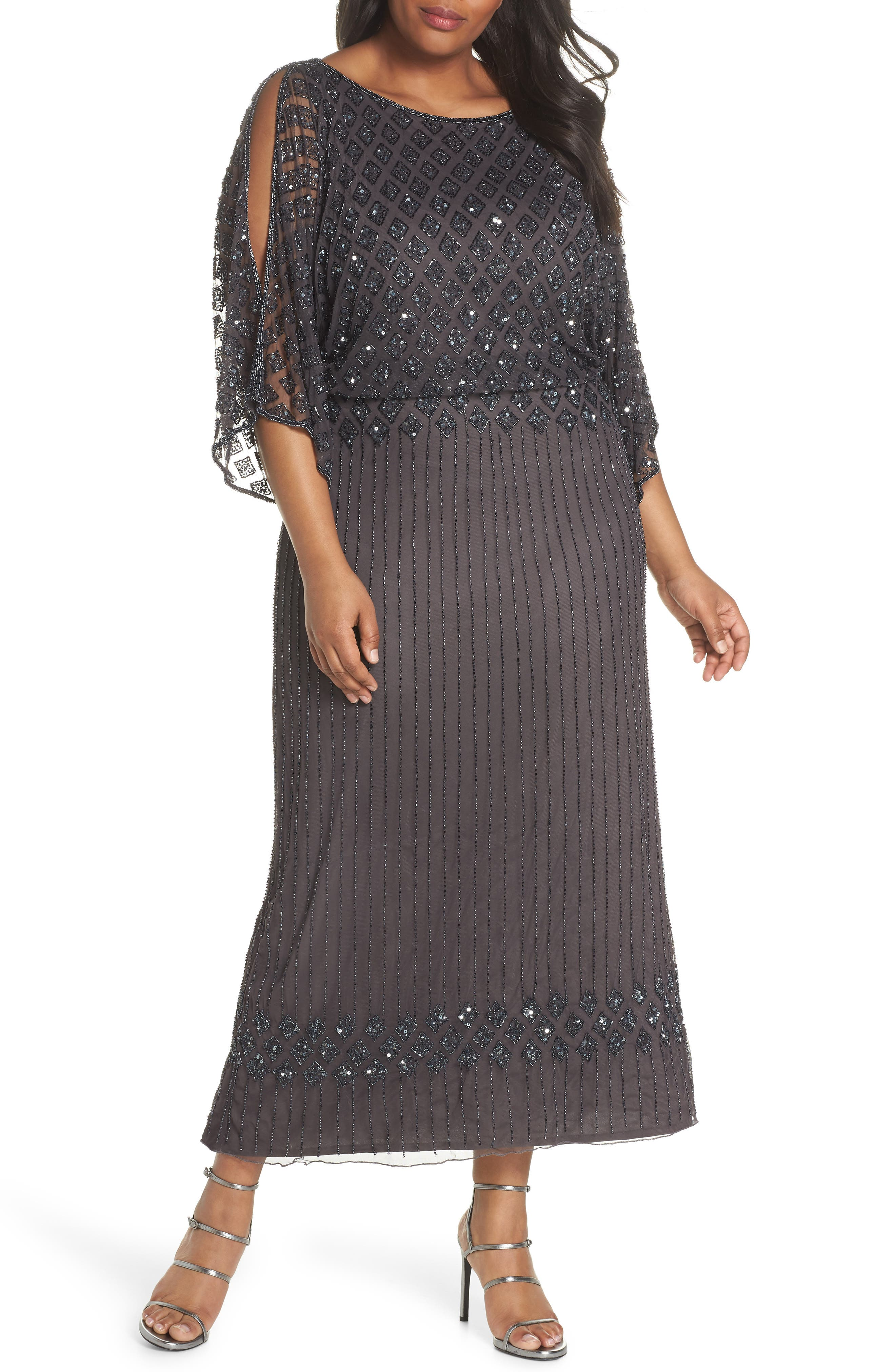 Diamond Motif Mesh Blouson Gown,                         Main,                         color, Slate