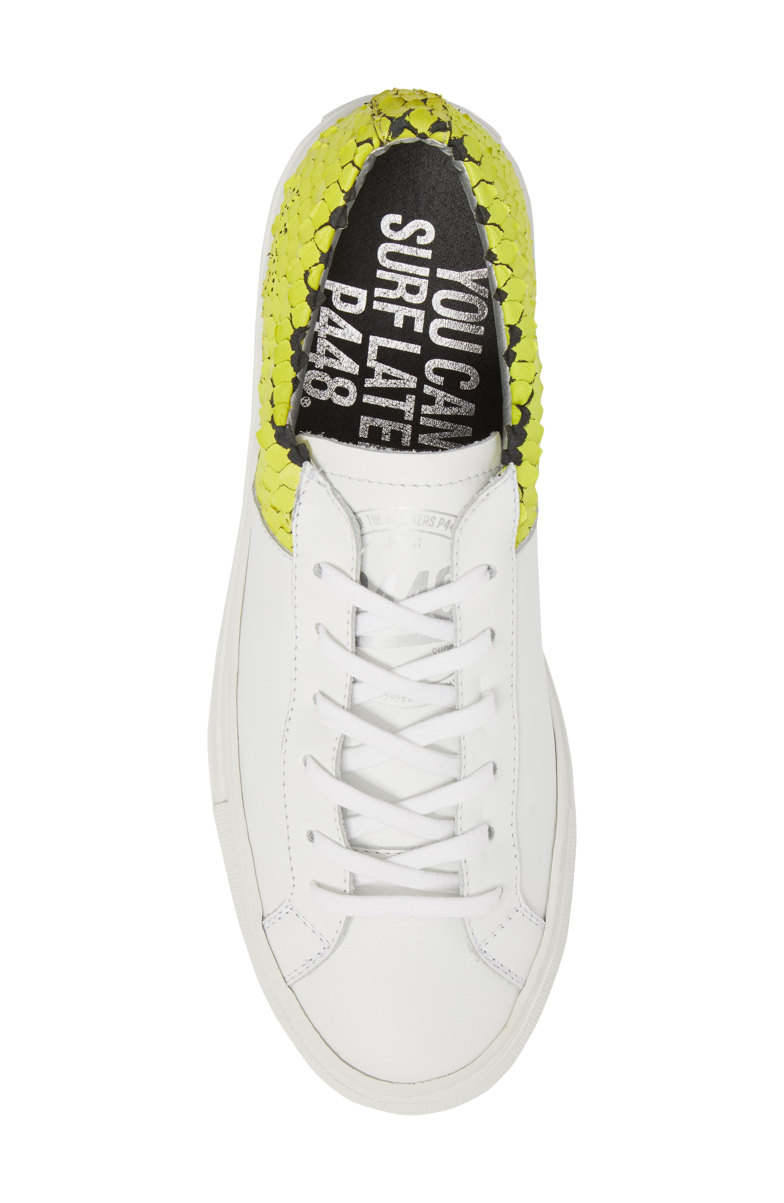 Onec Textured Low Top Sneaker,                             Alternate thumbnail 5, color,                             Python White