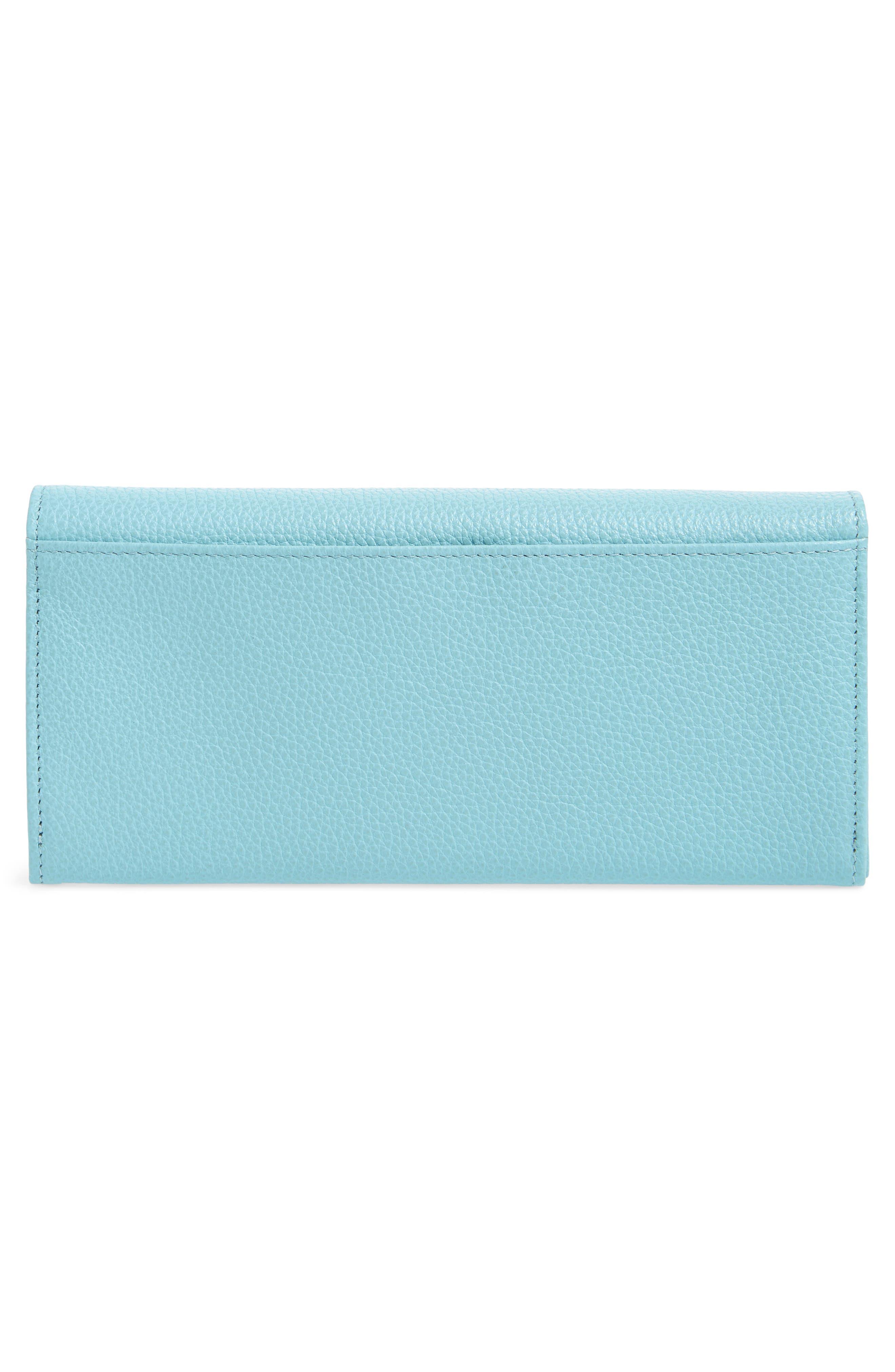 'Veau' Continental Wallet,                             Alternate thumbnail 4, color,                             Aqua