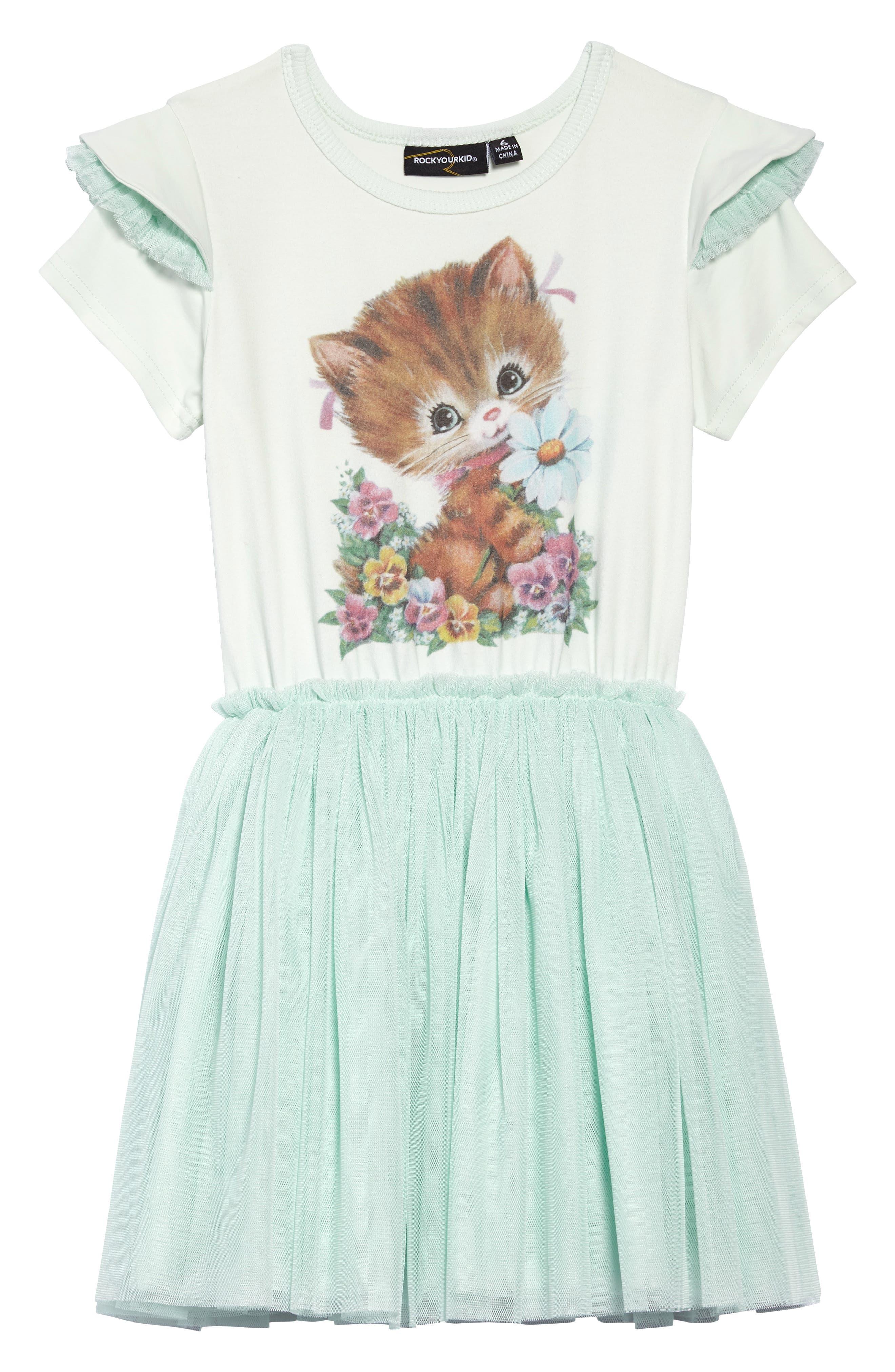 Kitty Kat Circus Dress,                         Main,                         color, Teal