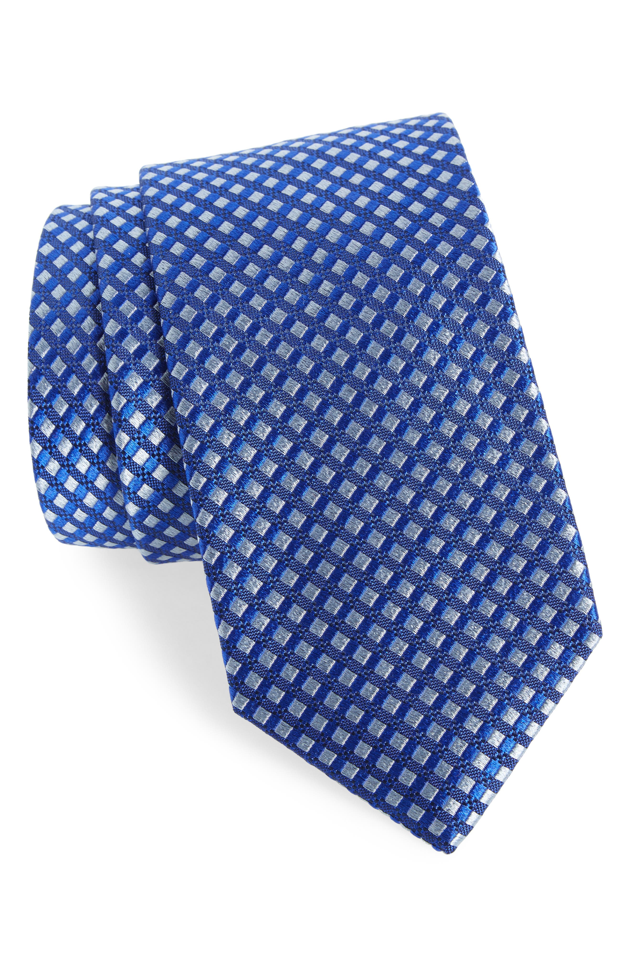 Nathan Check Silk Tie,                         Main,                         color, French Blue