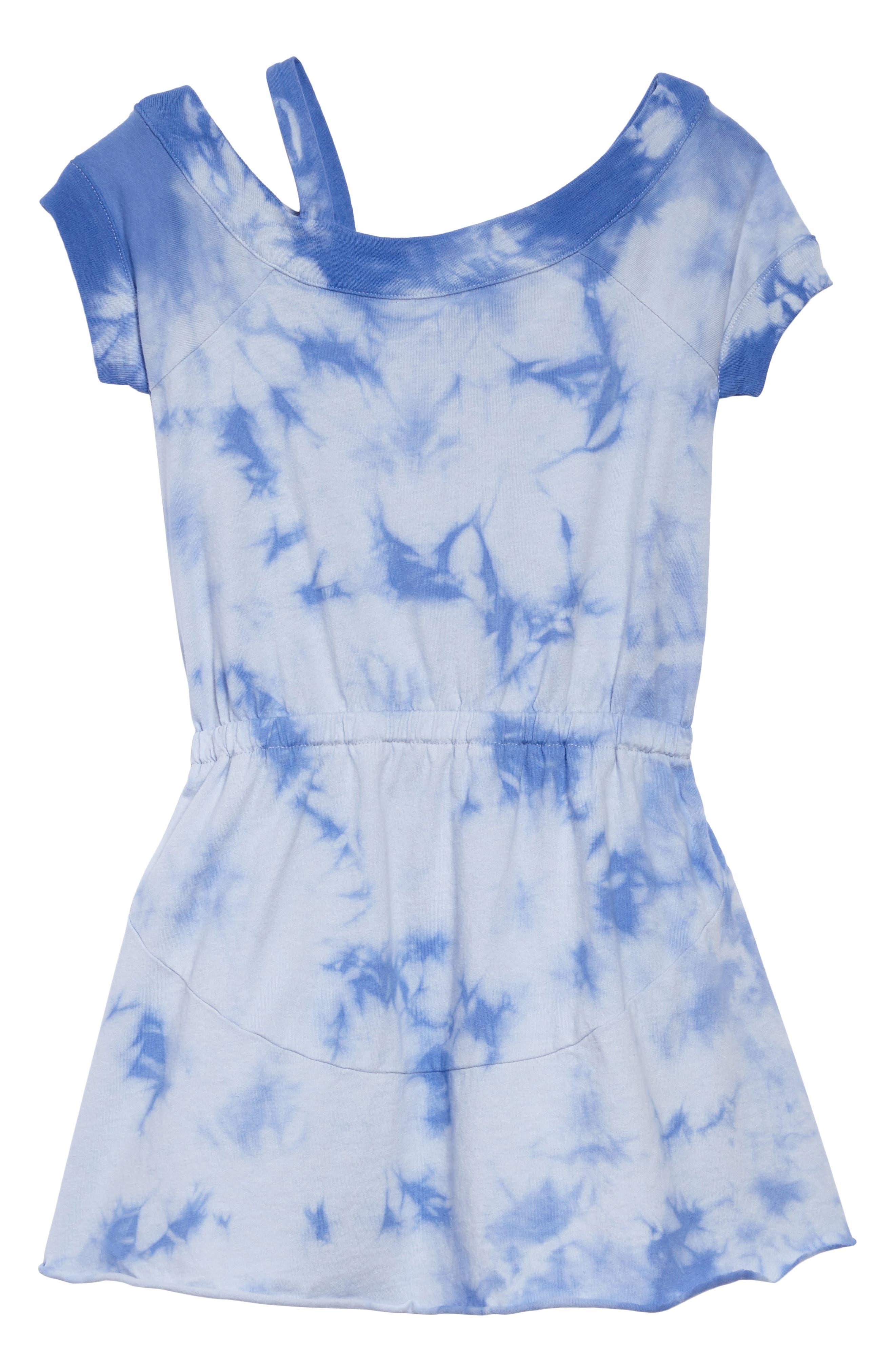 One-Shoulder Tie Dye Dress,                             Main thumbnail 1, color,                             Hydrangea